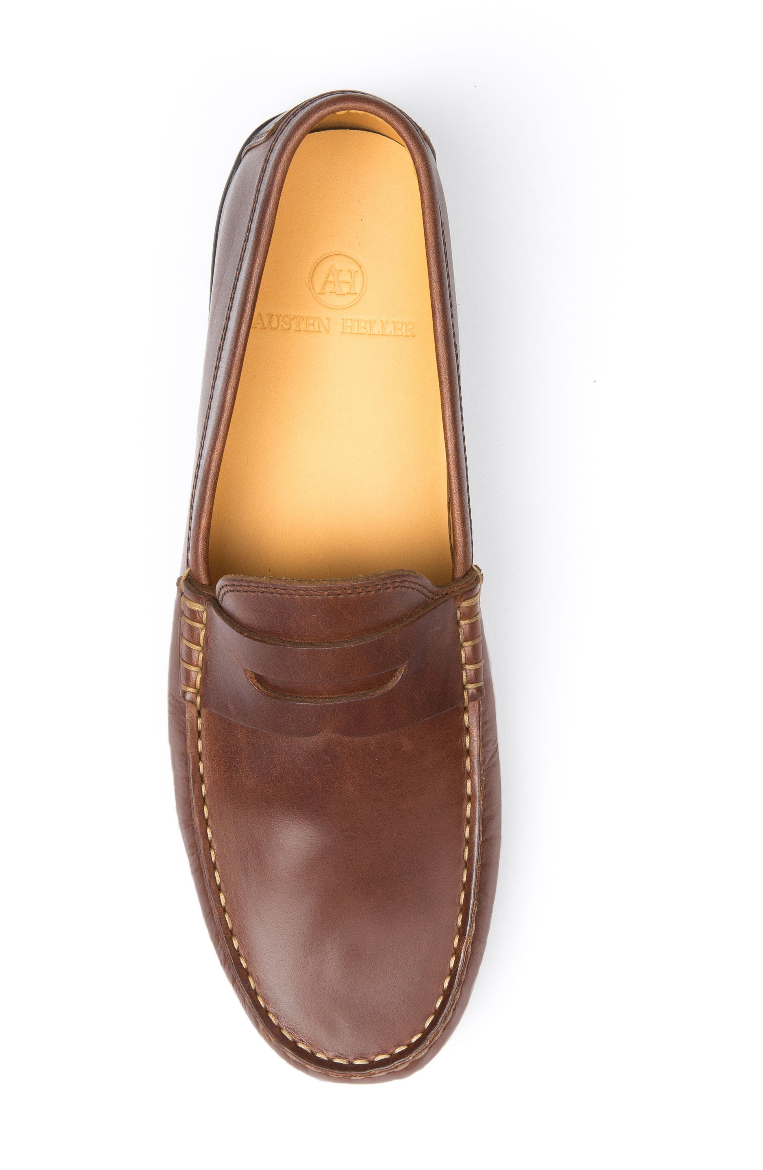 'Clinton' Leather Penny Loafer,                             Alternate thumbnail 6, color,                             LIGHT BROWN