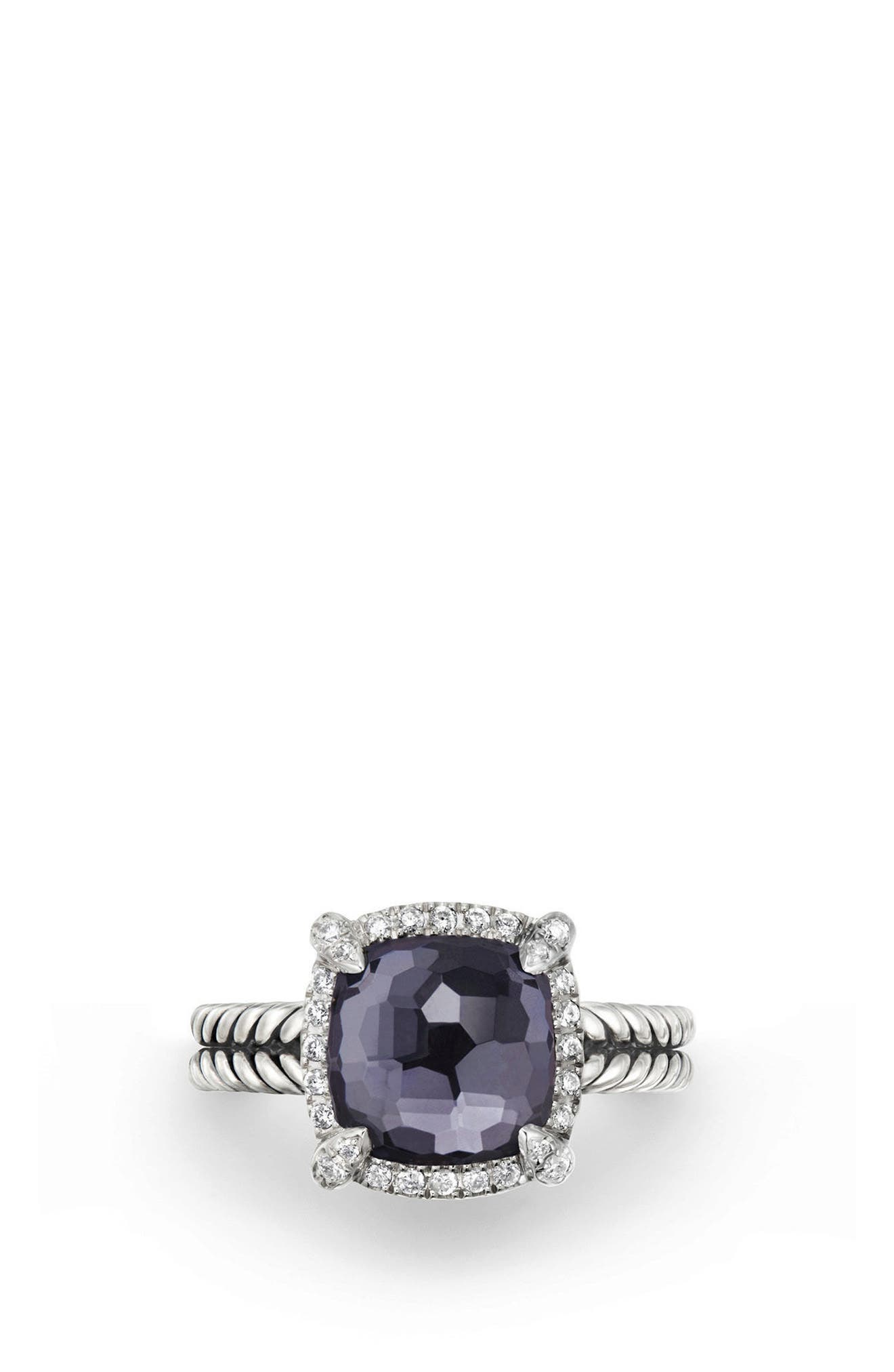 Châtelaine Pavé Bezel Ring with Black Orchid & Diamonds, 9mm,                             Alternate thumbnail 3, color,                             AMETHYST/ HEMETINE