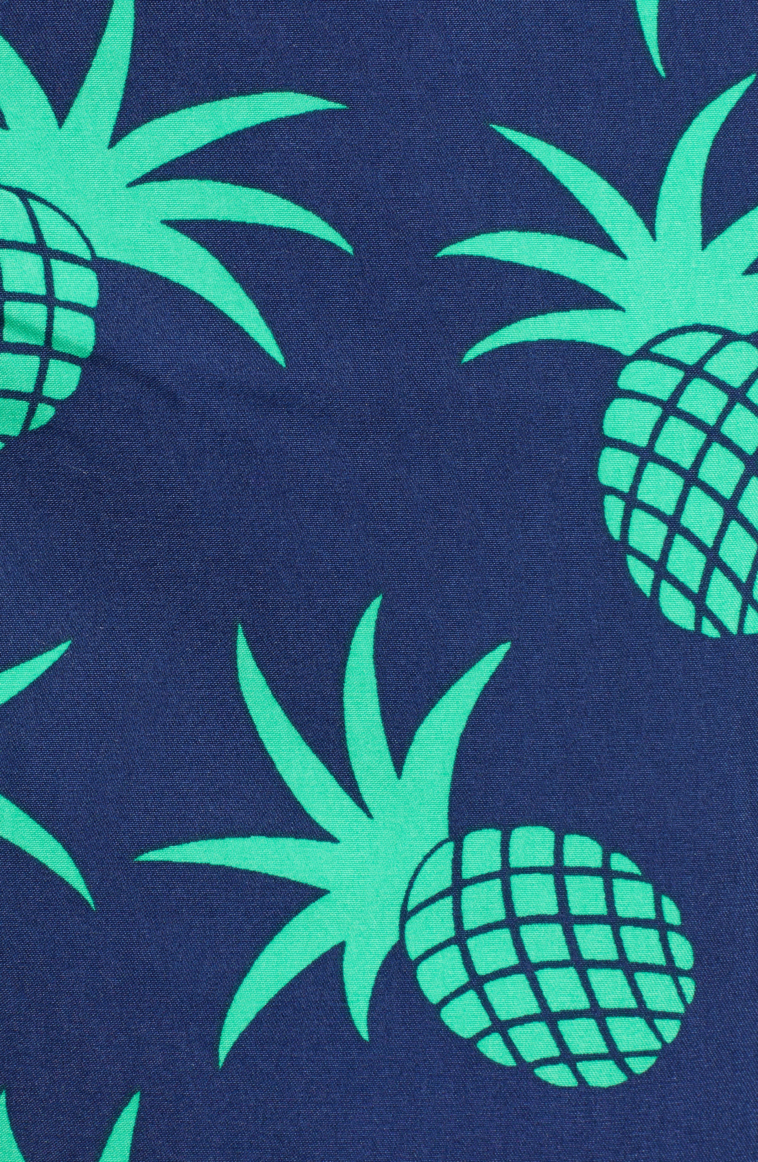 Pineapple Print Swim Trunks,                             Alternate thumbnail 5, color,                             400