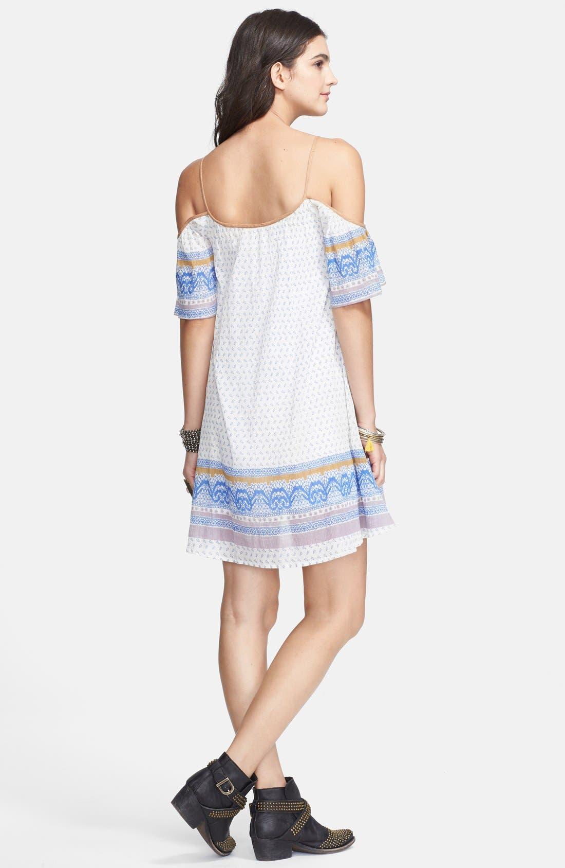 Cold Shoulder Cotton Peasant Dress,                             Alternate thumbnail 8, color,