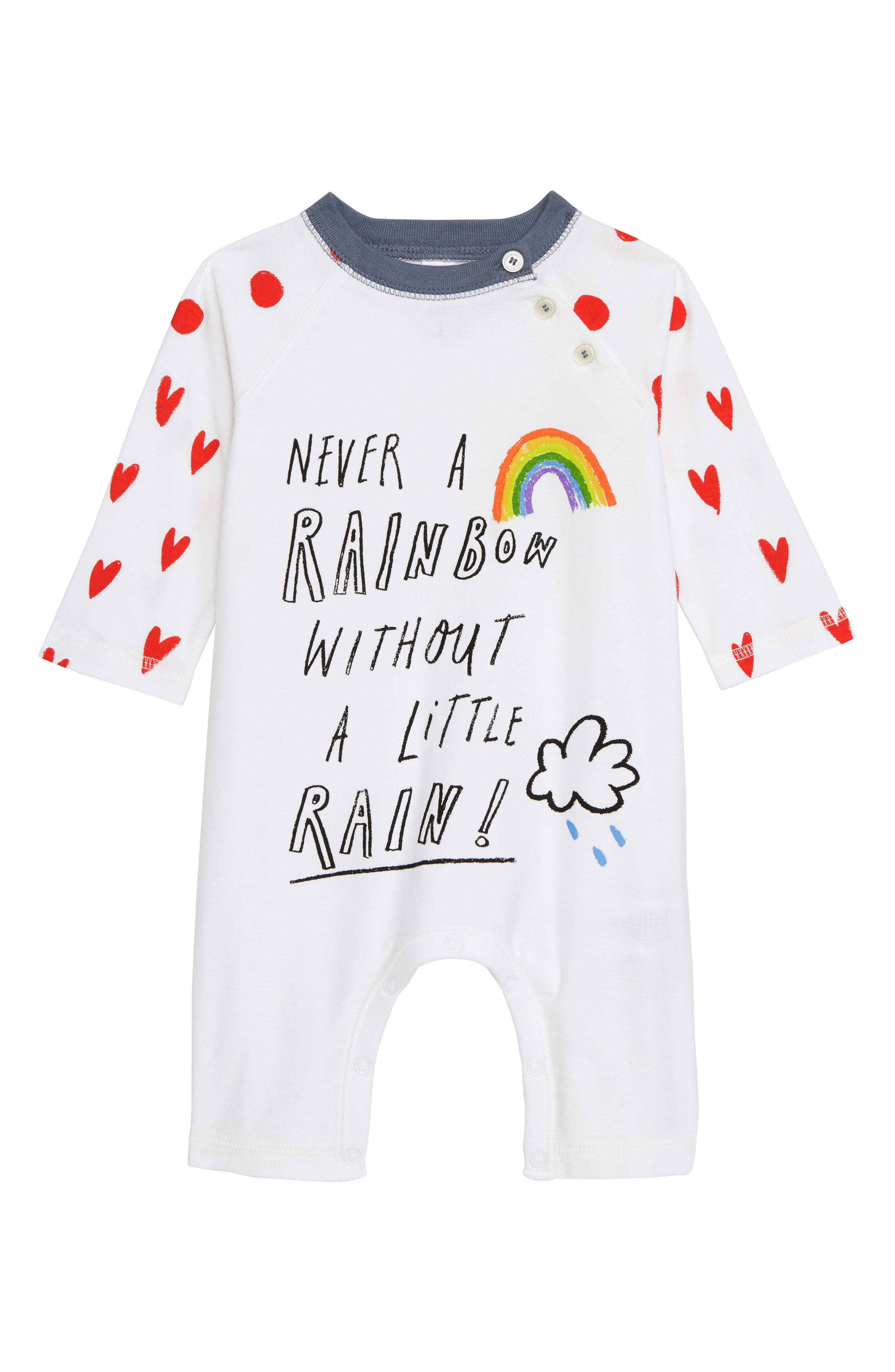 Rainbow Graphic Cotton Romper,                             Main thumbnail 1, color,                             WHITE
