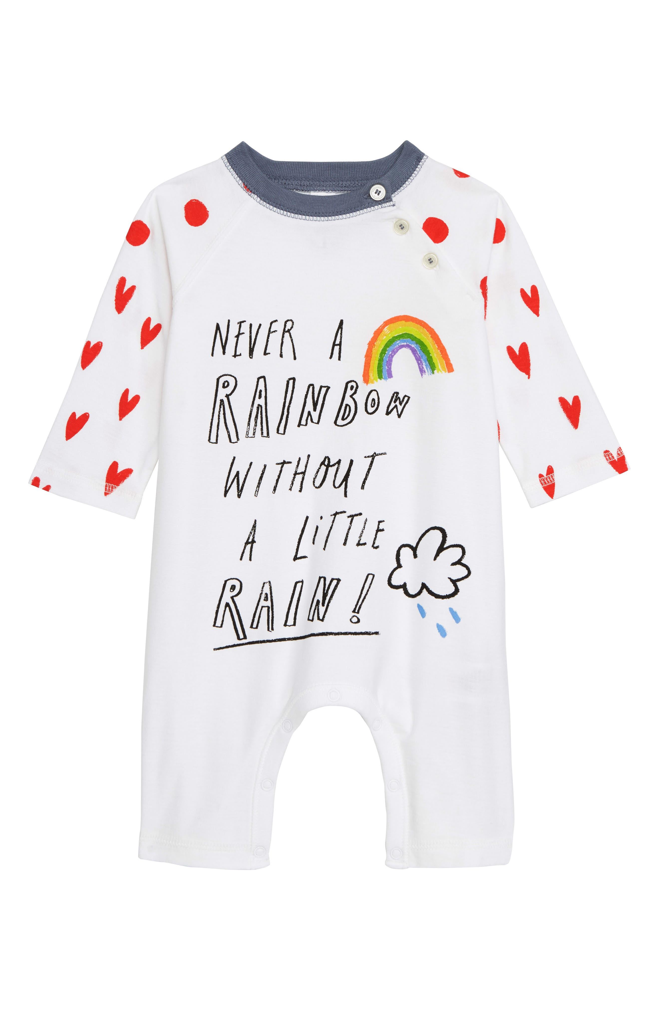 Rainbow Graphic Cotton Romper,                         Main,                         color, WHITE