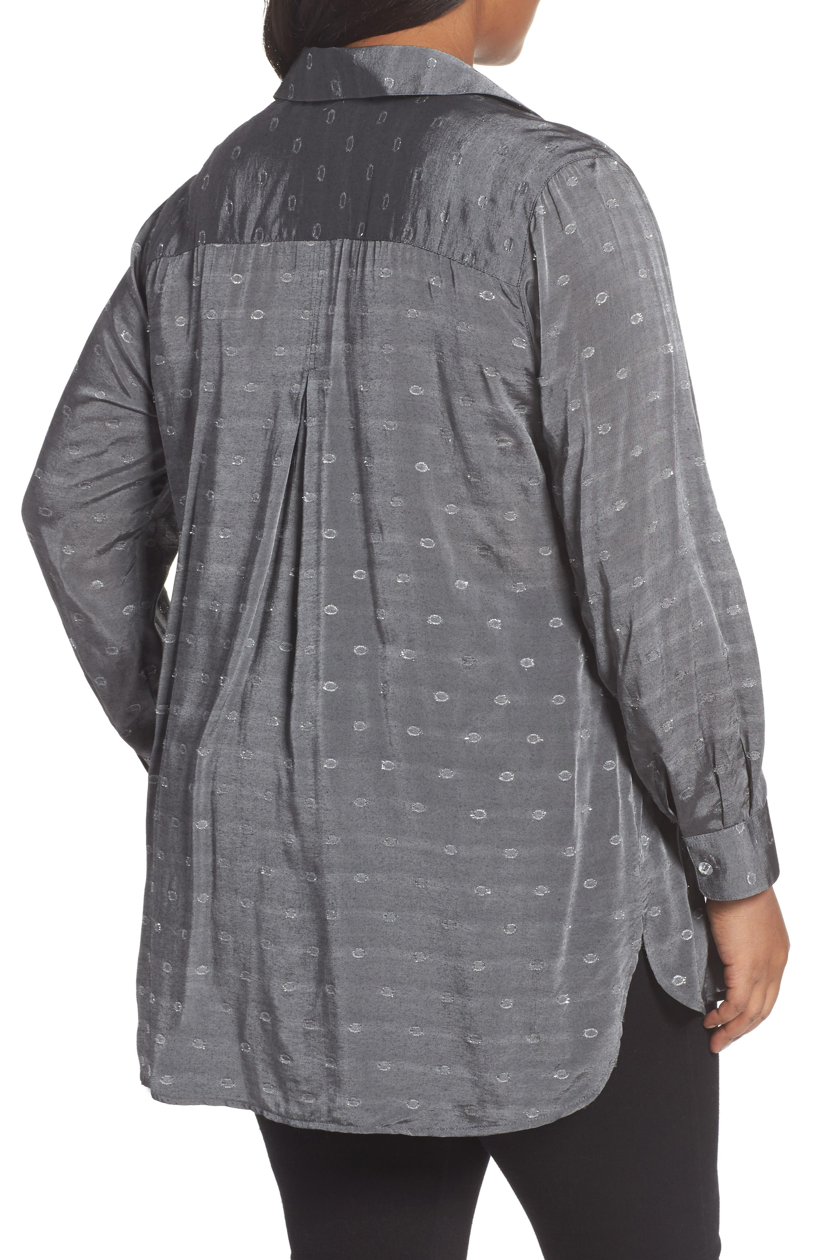 Jade Metallic Clip Dot Shirt,                             Alternate thumbnail 2, color,                             037