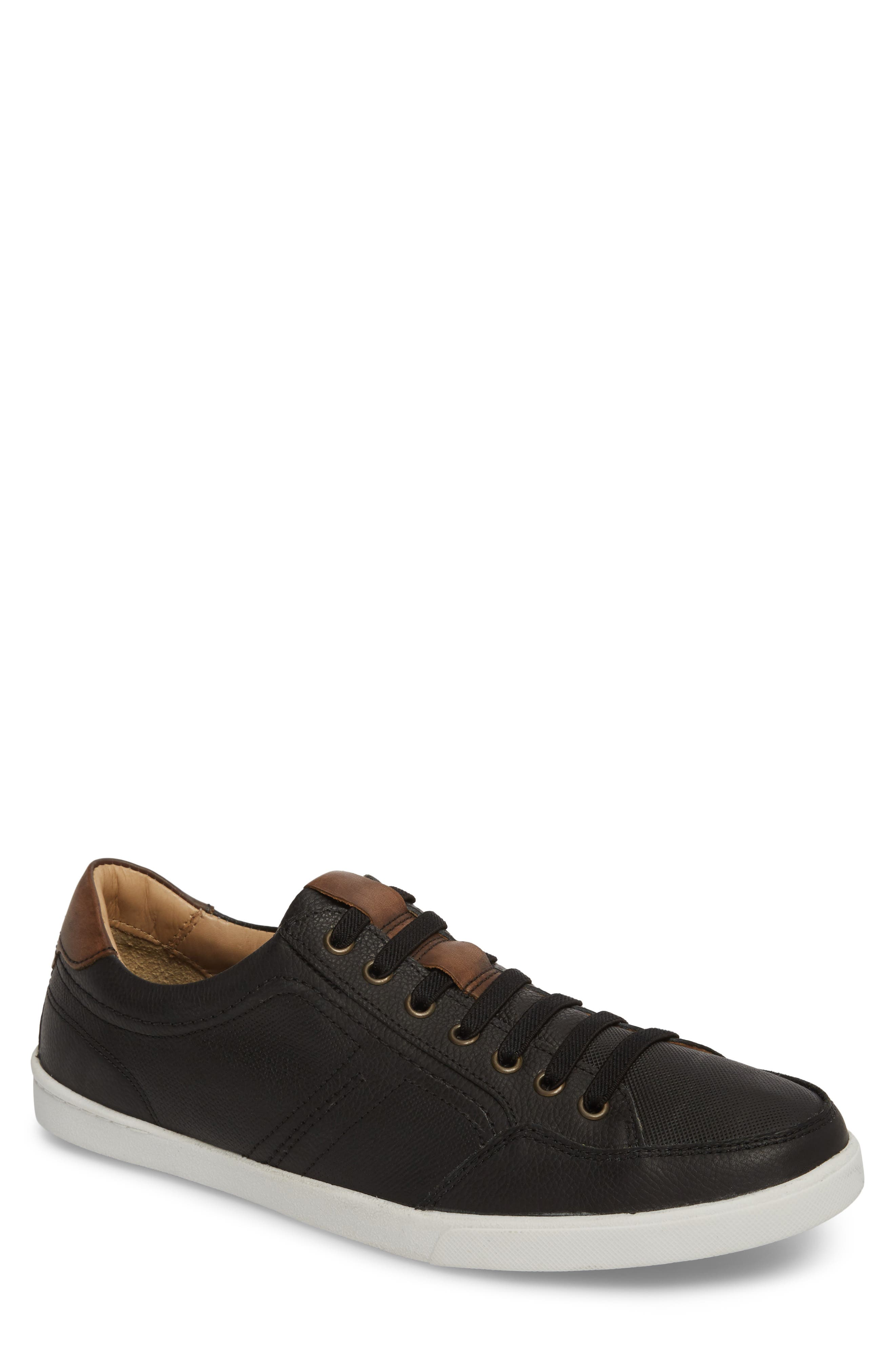 Quinton Textured Low Top Sneaker,                         Main,                         color, BLACK LEATHER