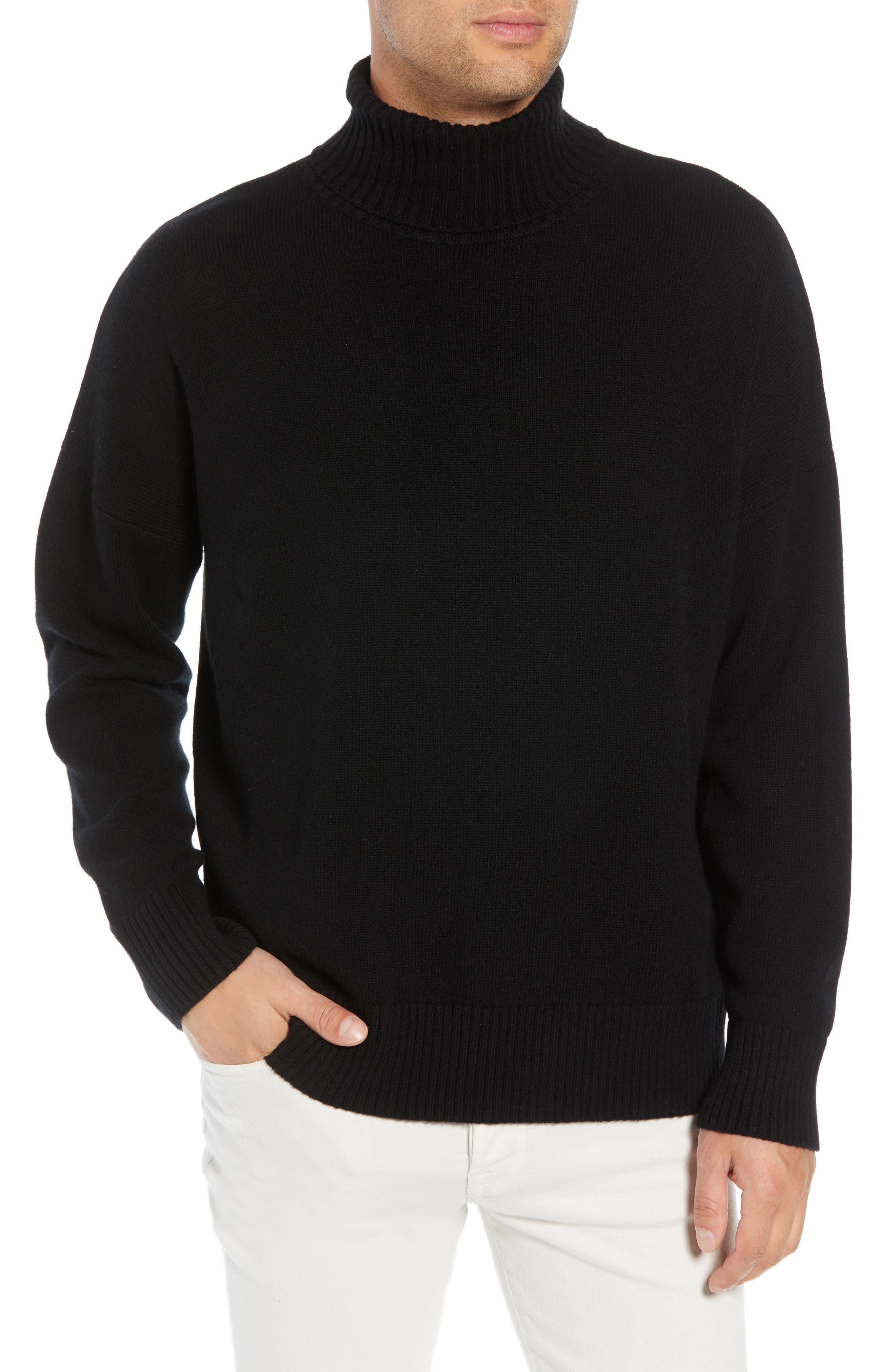 Wool & Cashmere Turtleneck Sweater,                             Main thumbnail 1, color,                             BLACK