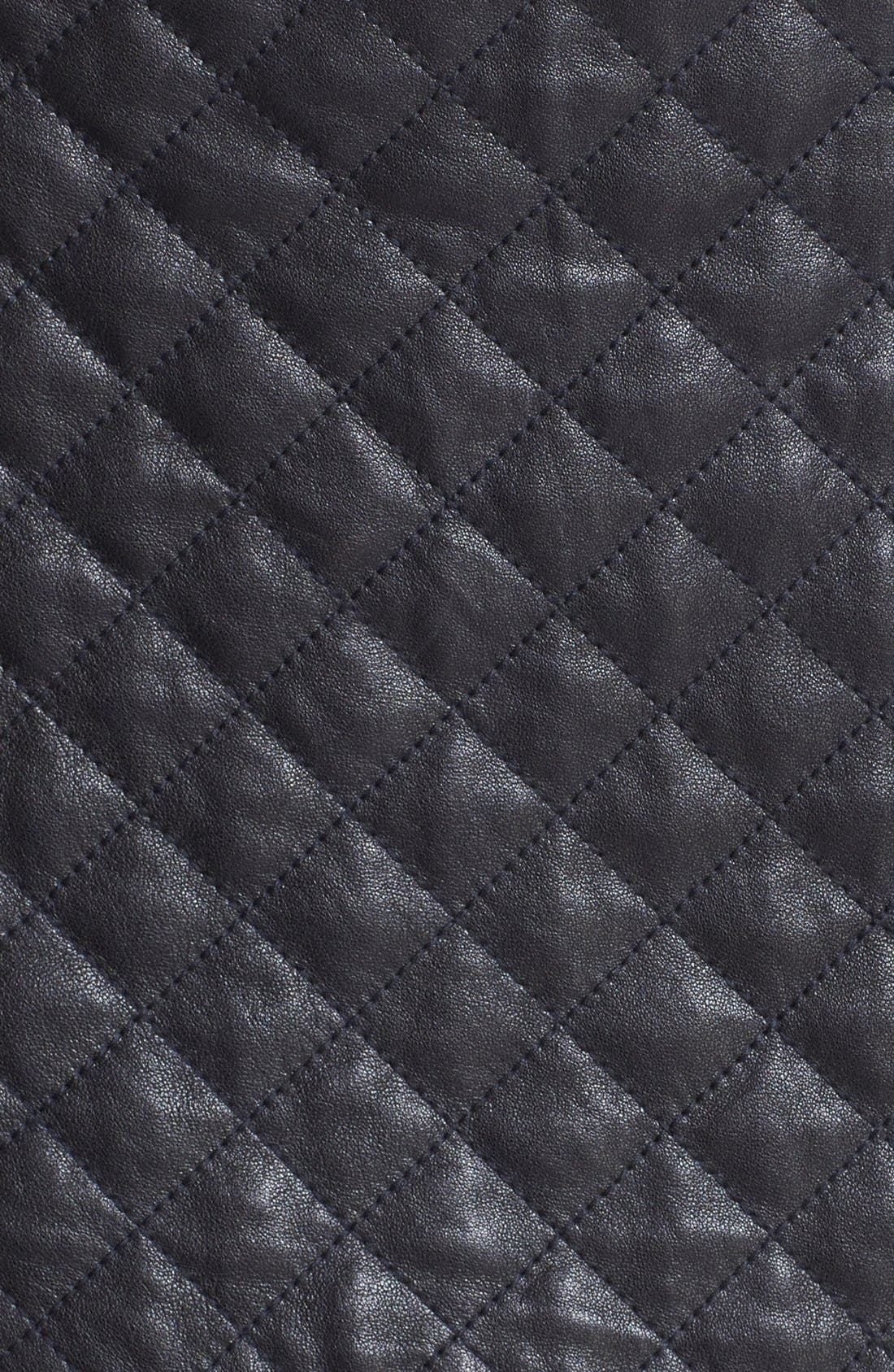 Quilted Leather Miniskirt,                             Alternate thumbnail 4, color,                             001