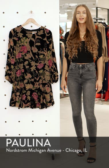 Floral Print Velvet Shift Dress, sales video thumbnail