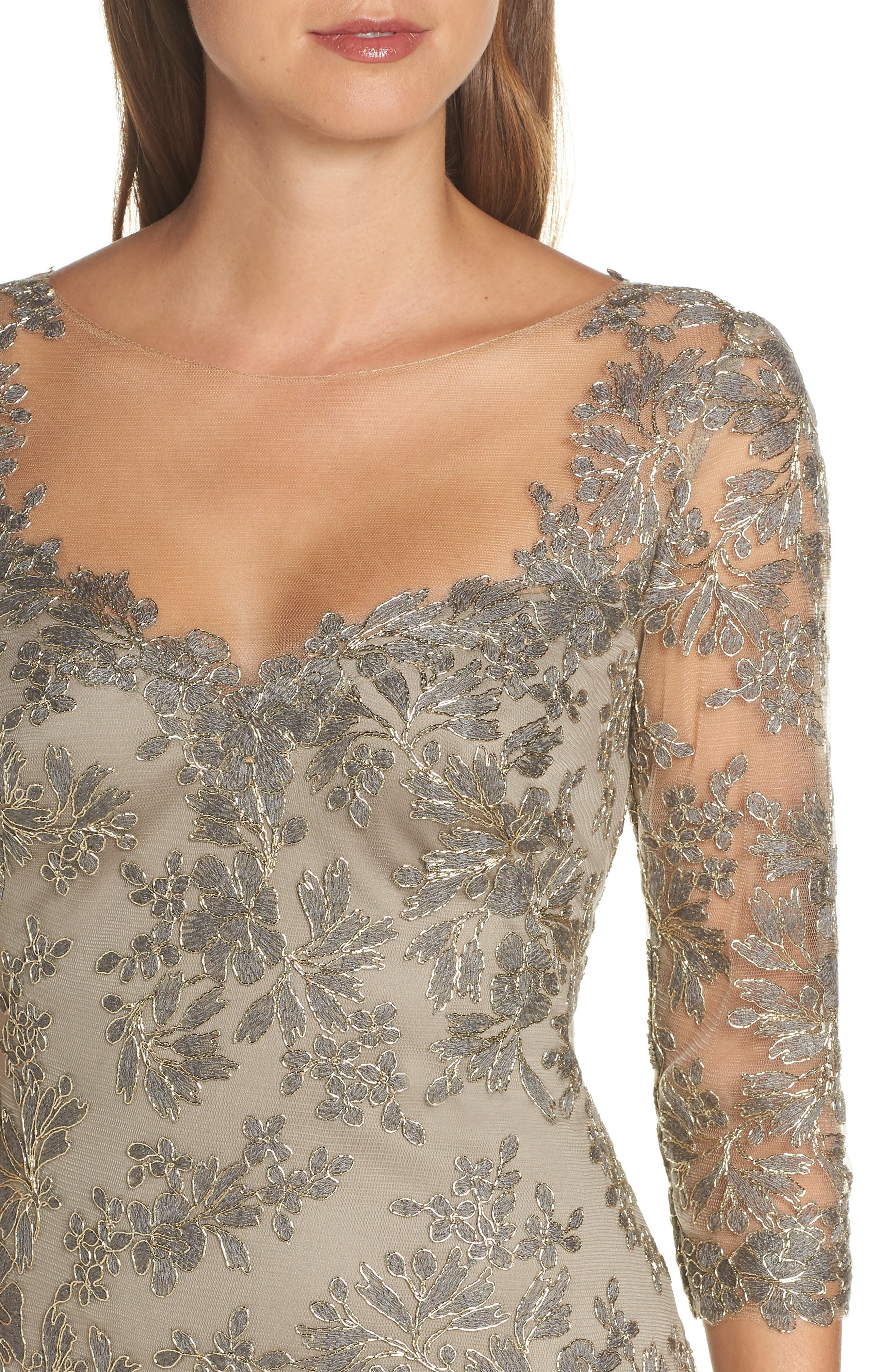 TADASHI SHOJI, Corded Embroidered Lace Gown, Alternate thumbnail 5, color, SMOKE PEARL