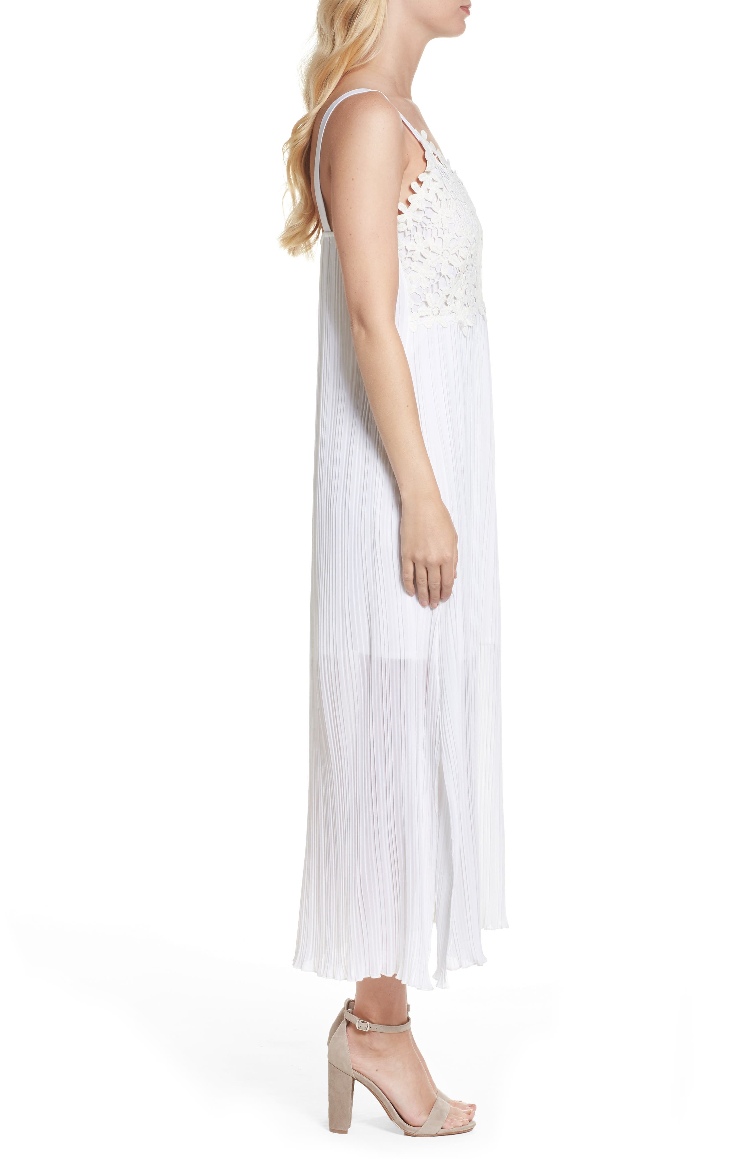 French Coonection Posy Lace Midi Dress,                             Alternate thumbnail 3, color,                             101