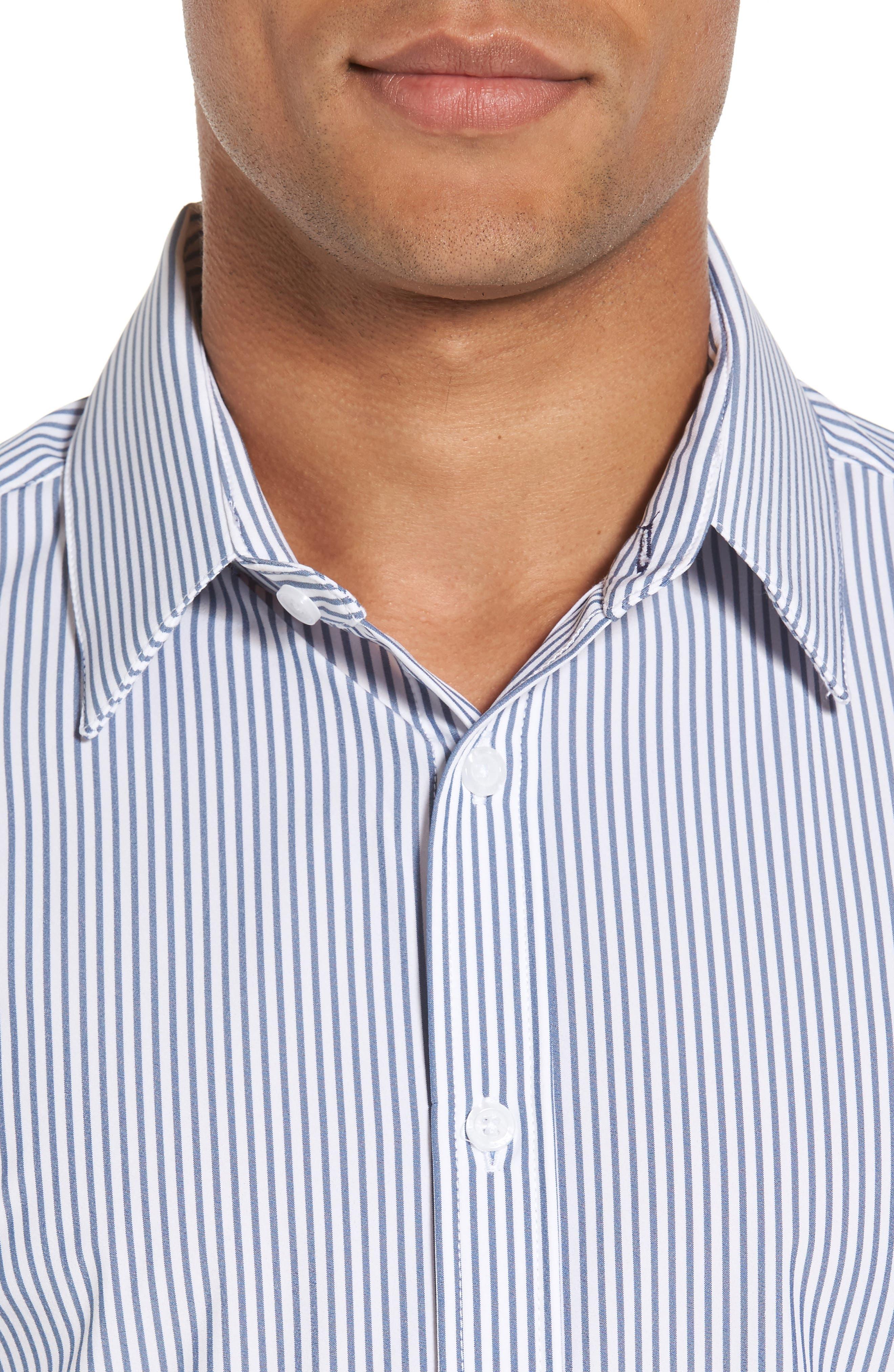 MIZZEN+MAIN,                             Blue Label Wilkes Stripe Performance Sport Shirt,                             Alternate thumbnail 4, color,                             BLUE
