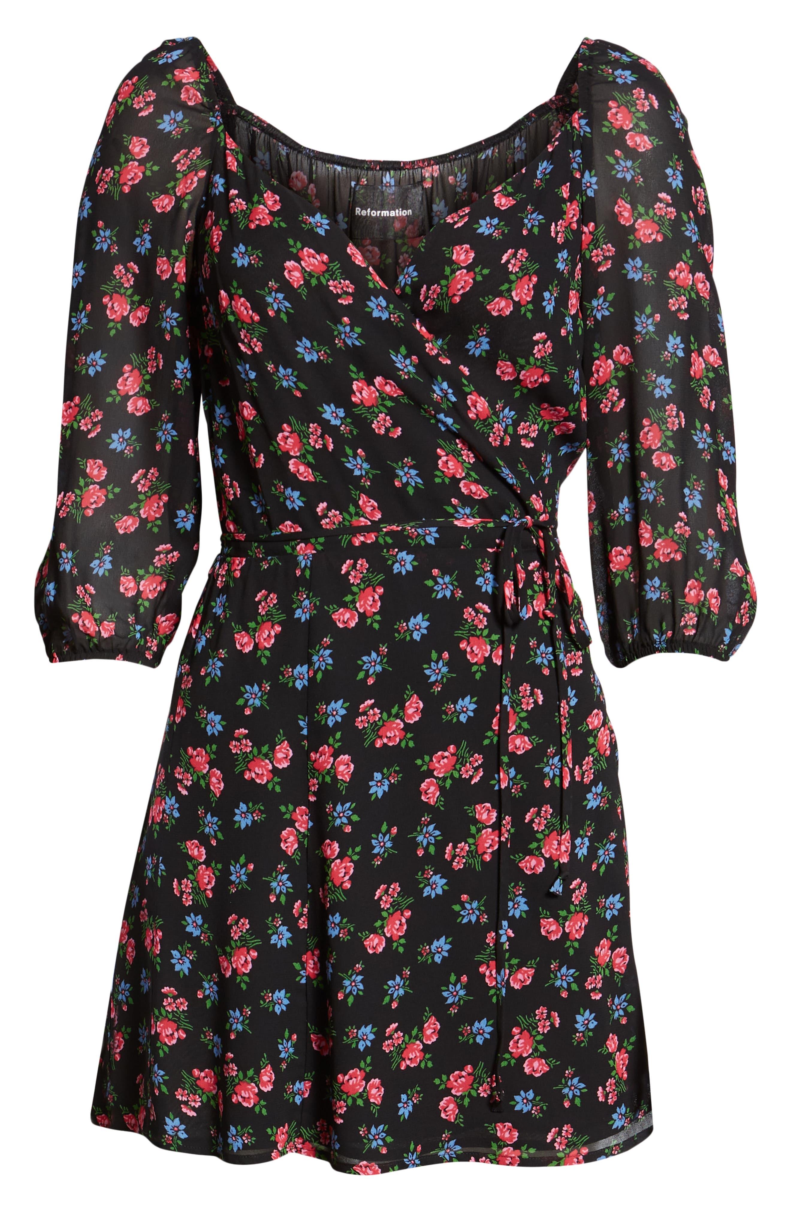 Eveleigh Wrap Minidress,                             Alternate thumbnail 4, color,                             001