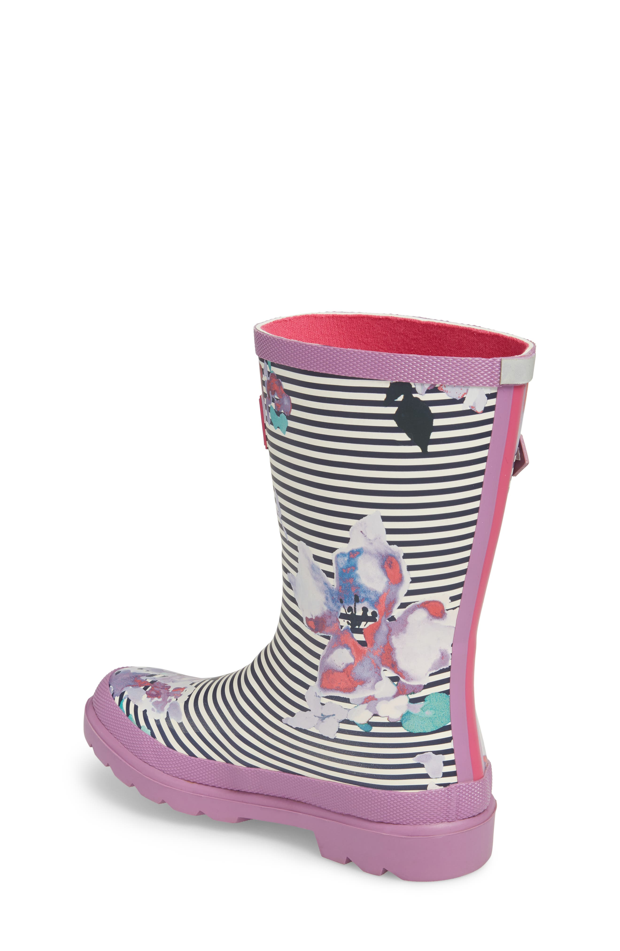 Mid Height Print Welly Rain Boot,                             Alternate thumbnail 2, color,                             VIOLET STRIPE FLORAL