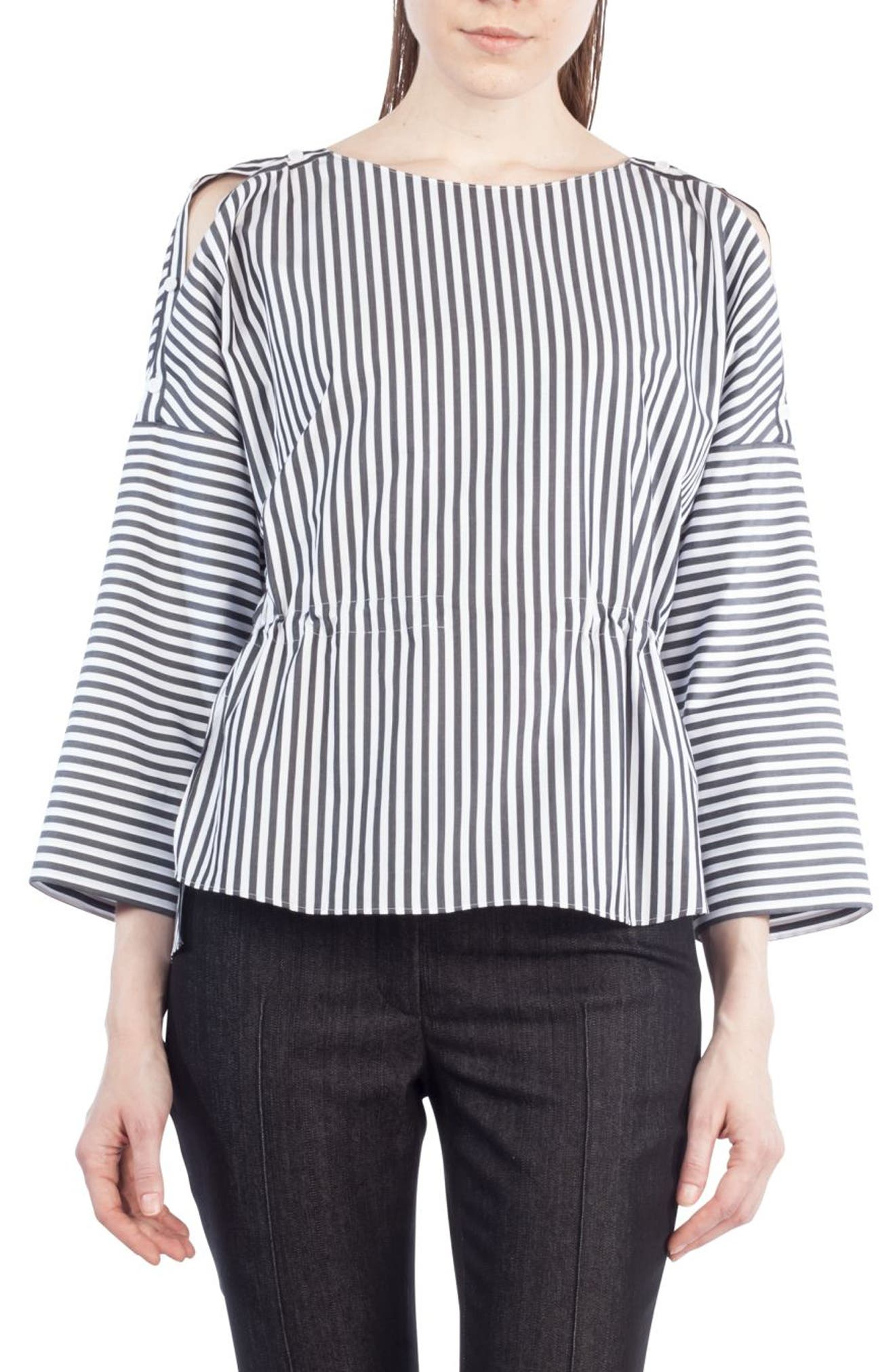 Stripe Cotton Drawstring Blouse,                             Alternate thumbnail 2, color,                             960