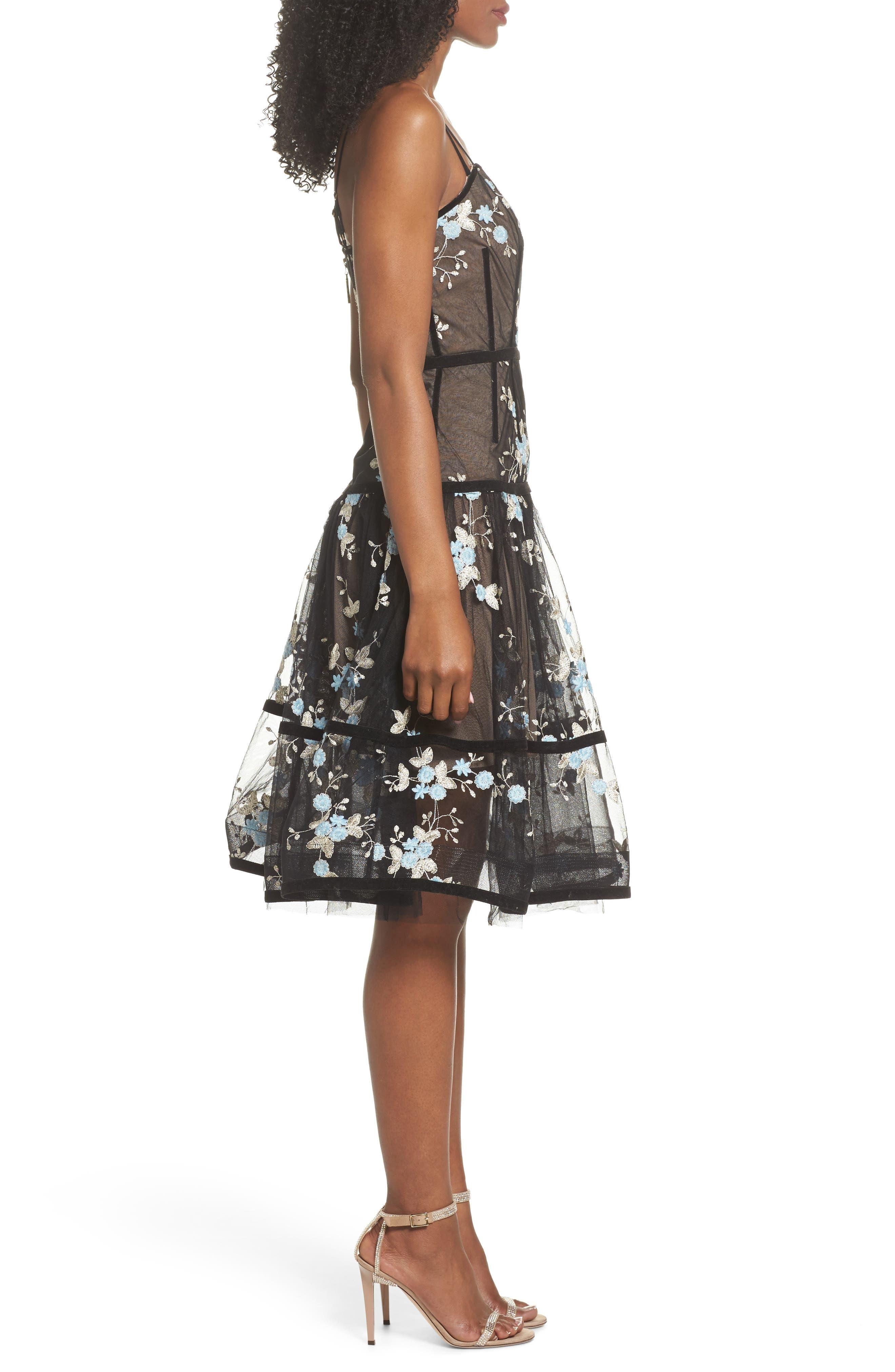 Marietta Fit & Flare Dress,                             Alternate thumbnail 3, color,
