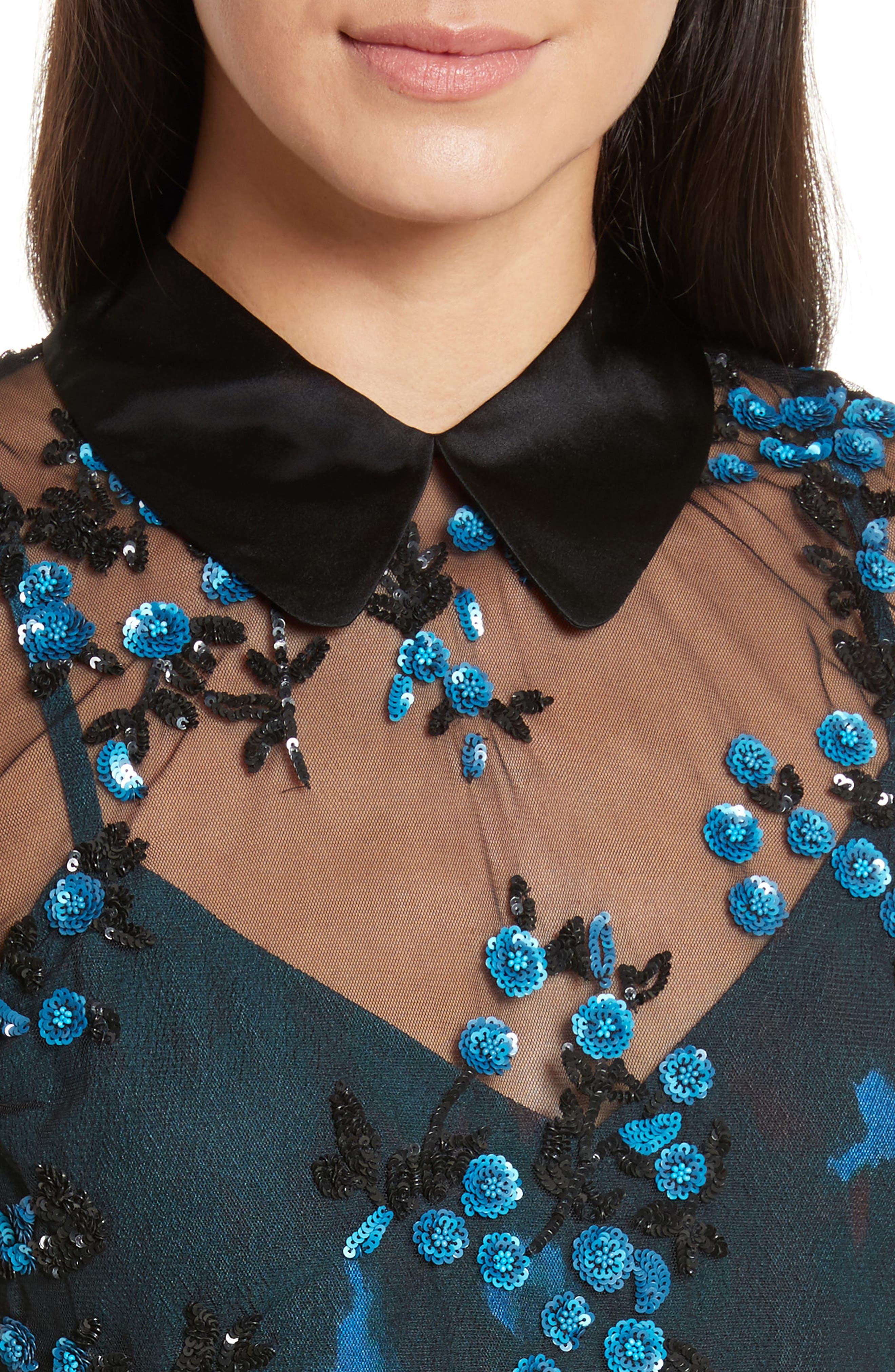 Mesh Overlay Collar Blouse,                             Alternate thumbnail 4, color,