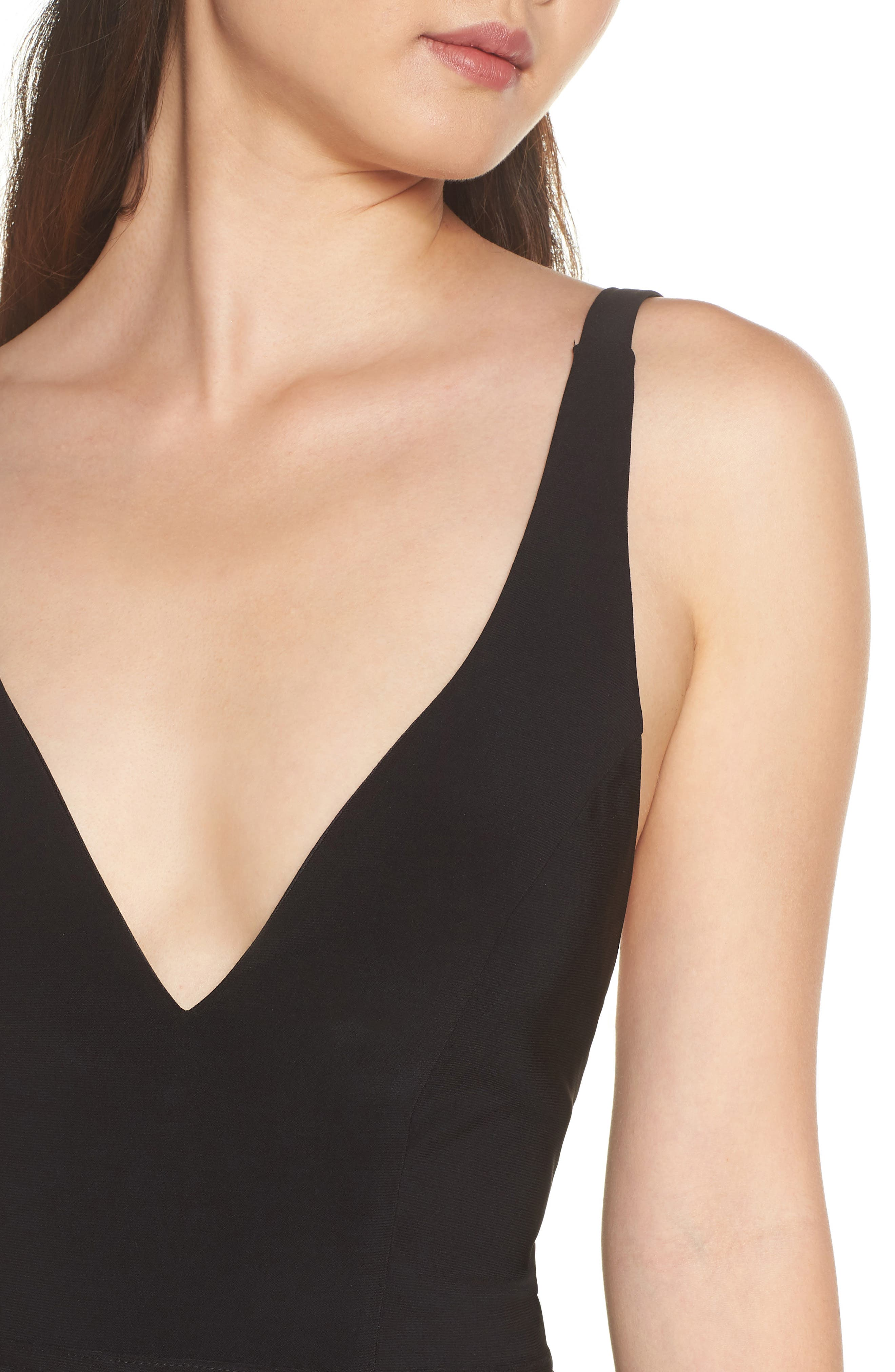 Mac Duggal Plunge Neck Slit Jersey Gown,                             Alternate thumbnail 4, color,                             BLACK