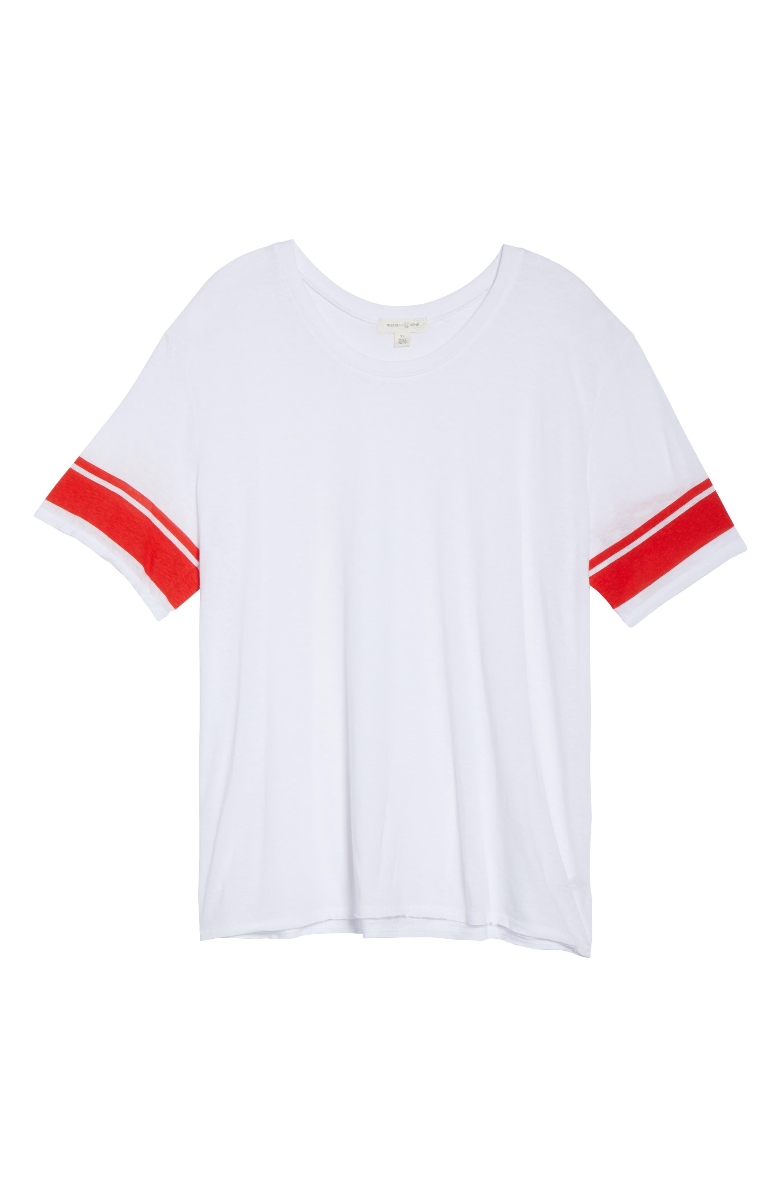Varsity Stripe Tee,                             Alternate thumbnail 13, color,                             WHITE- RED BAROQUE COMBO