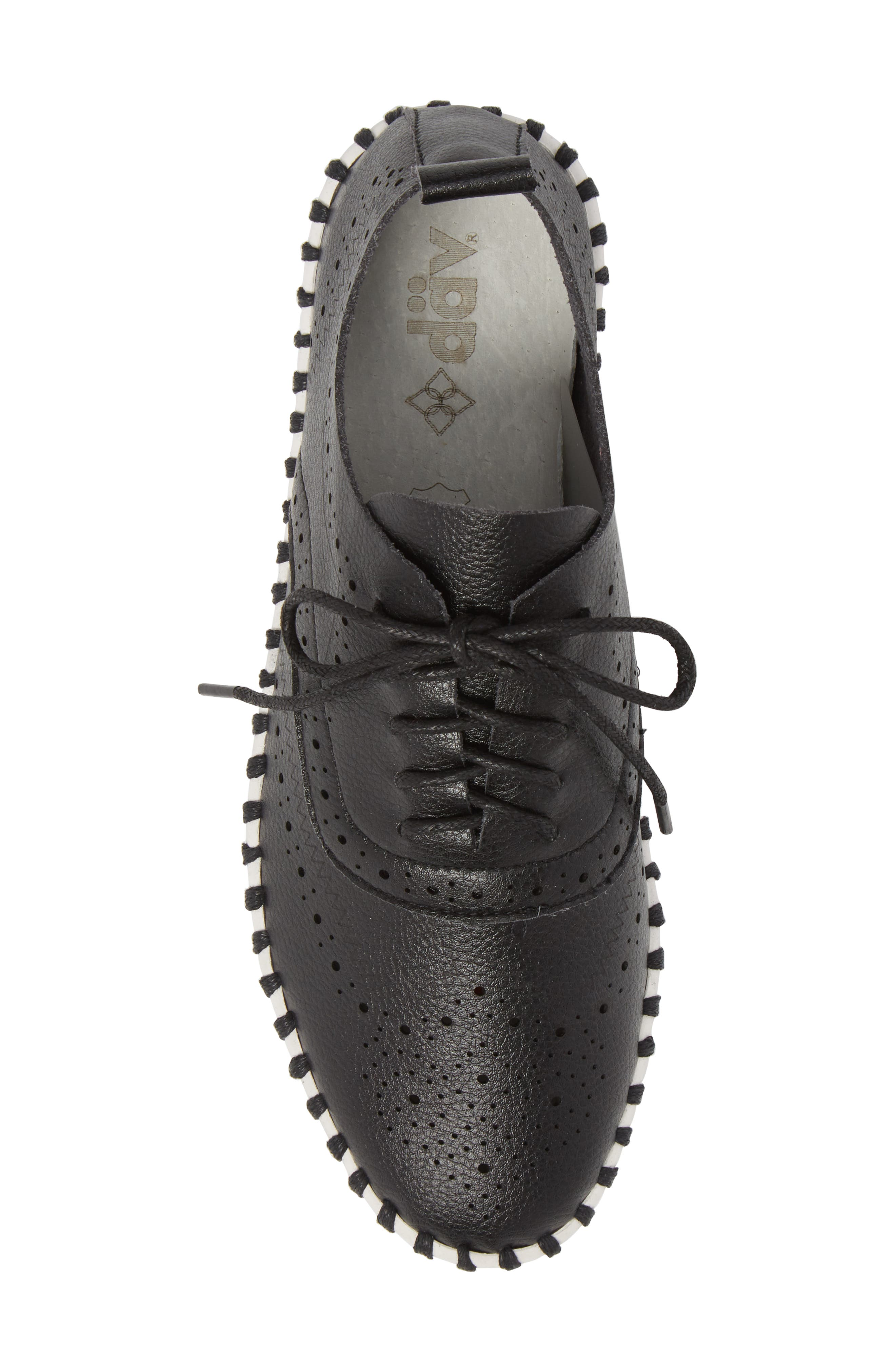 Salinas Waterproof Brogue Lace-Up Sneaker,                             Alternate thumbnail 5, color,                             BLACK FAUX LEATHER