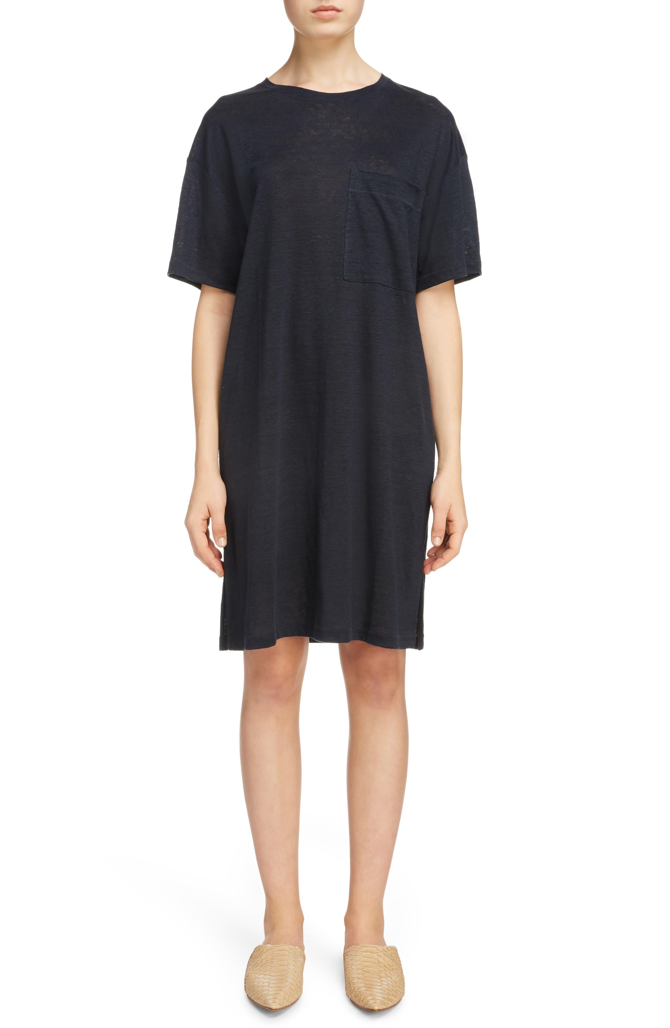 Saga Linen T-Shirt Dress,                         Main,                         color, 001