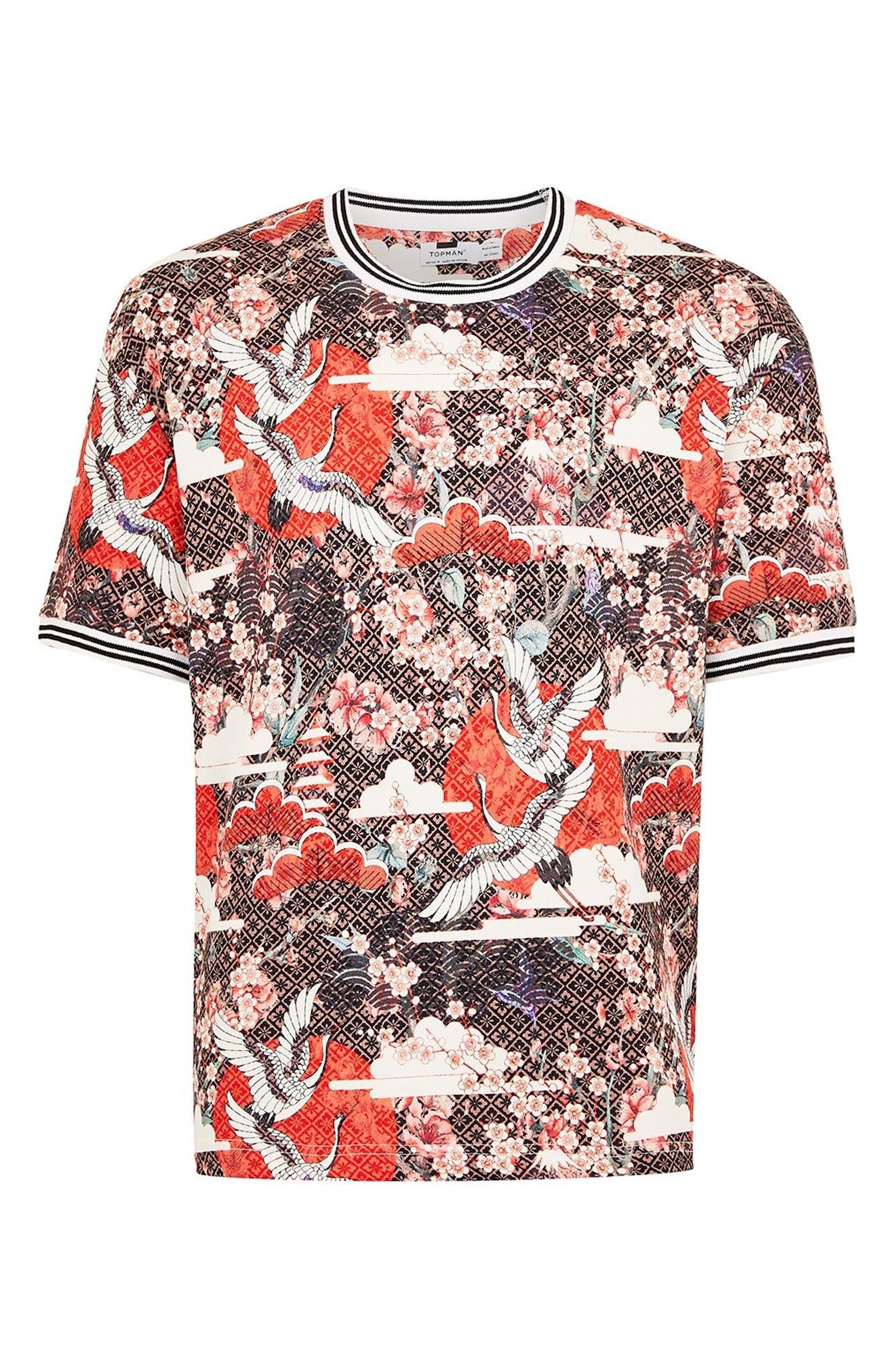 Japanese Tile Print Short Sleeve Sweatshirt,                             Alternate thumbnail 4, color,                             600