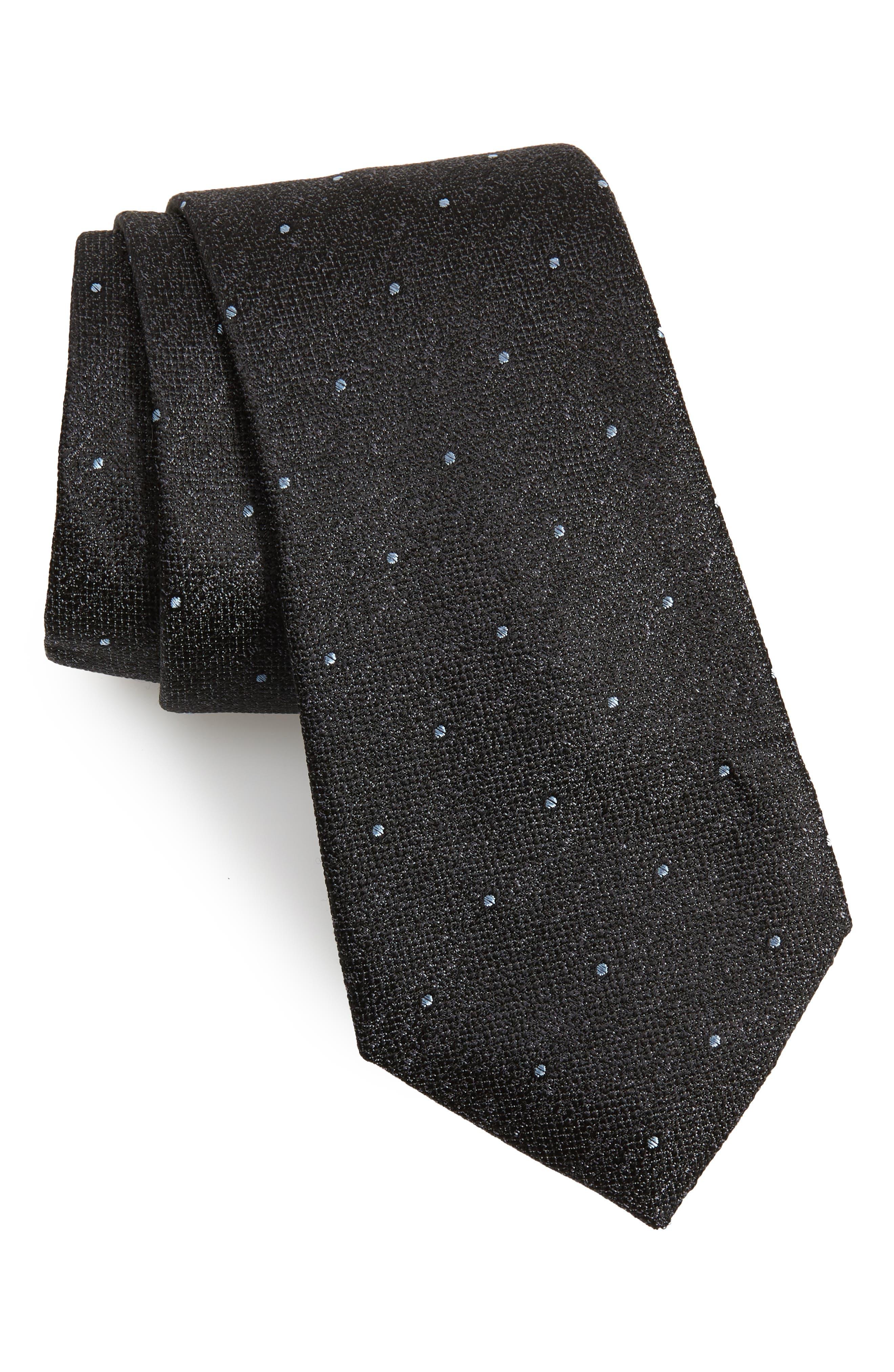 Mangan Dot Silk Tie,                             Main thumbnail 1, color,                             BLACK