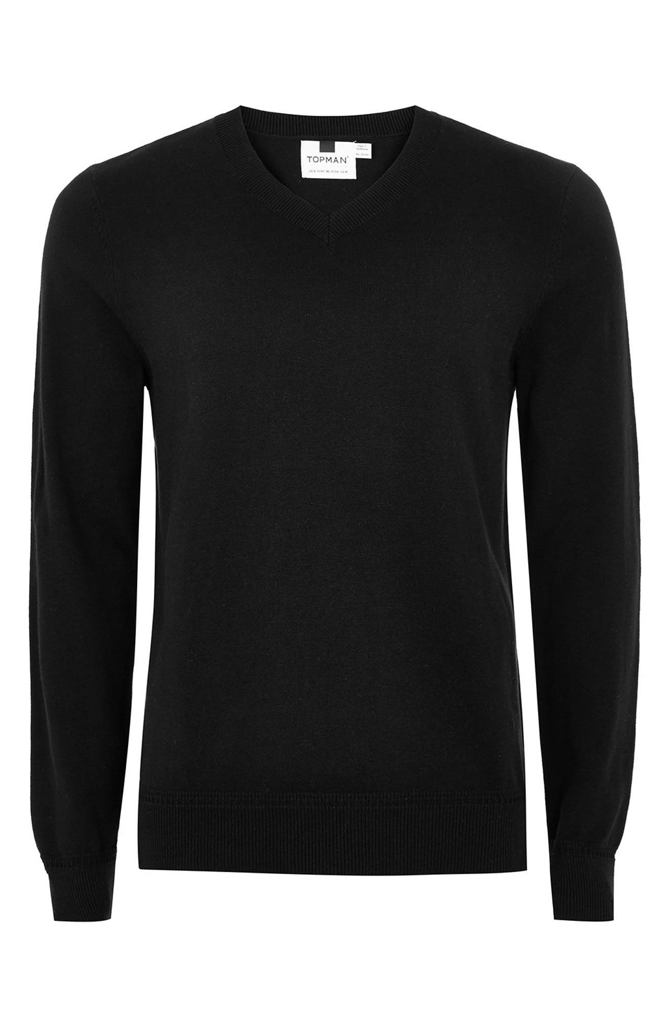 Classic V-Neck Sweater,                             Alternate thumbnail 5, color,                             BLACK