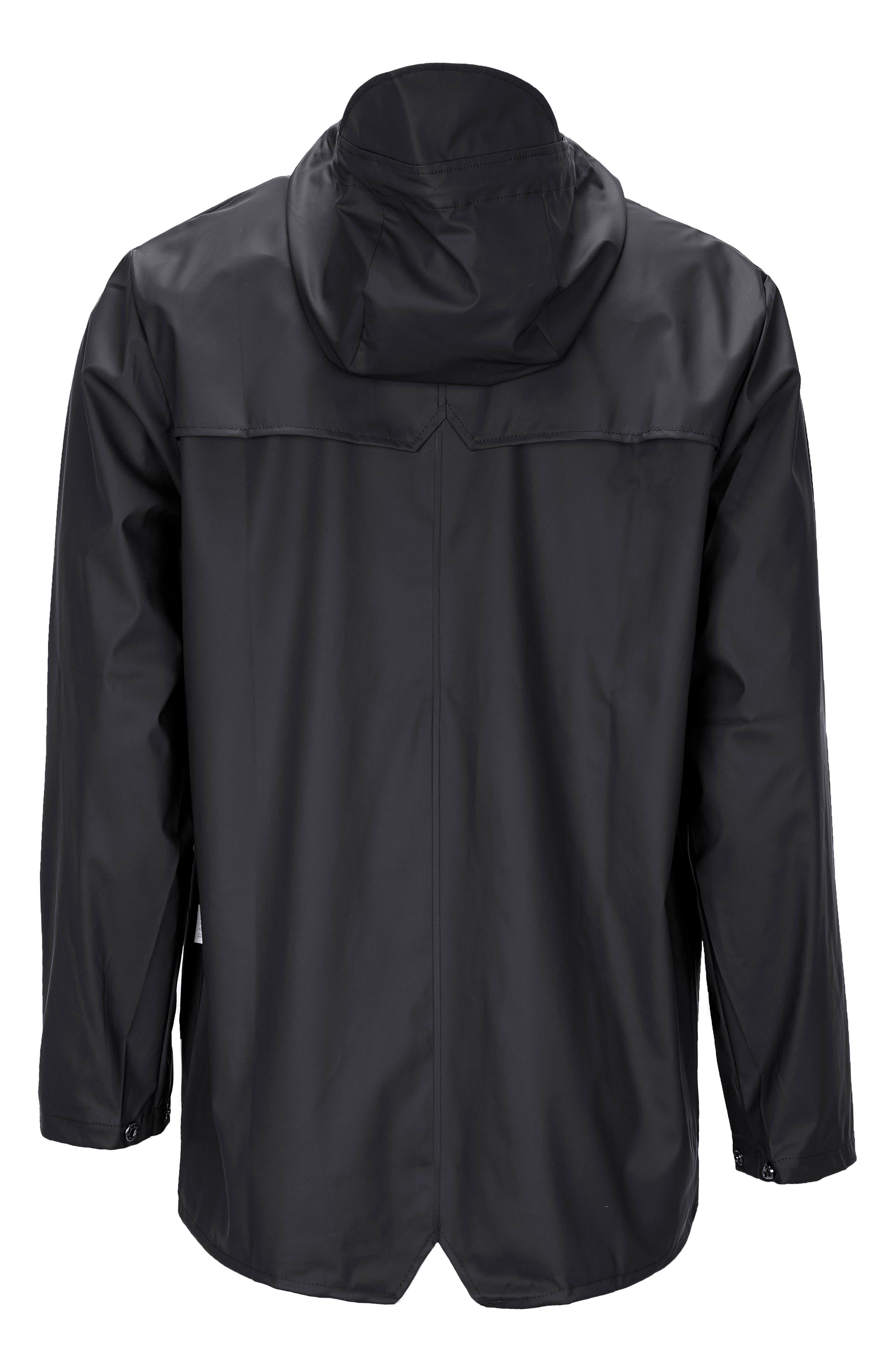 Lightweight Hooded Rain Jacket,                             Alternate thumbnail 7, color,                             BLACK