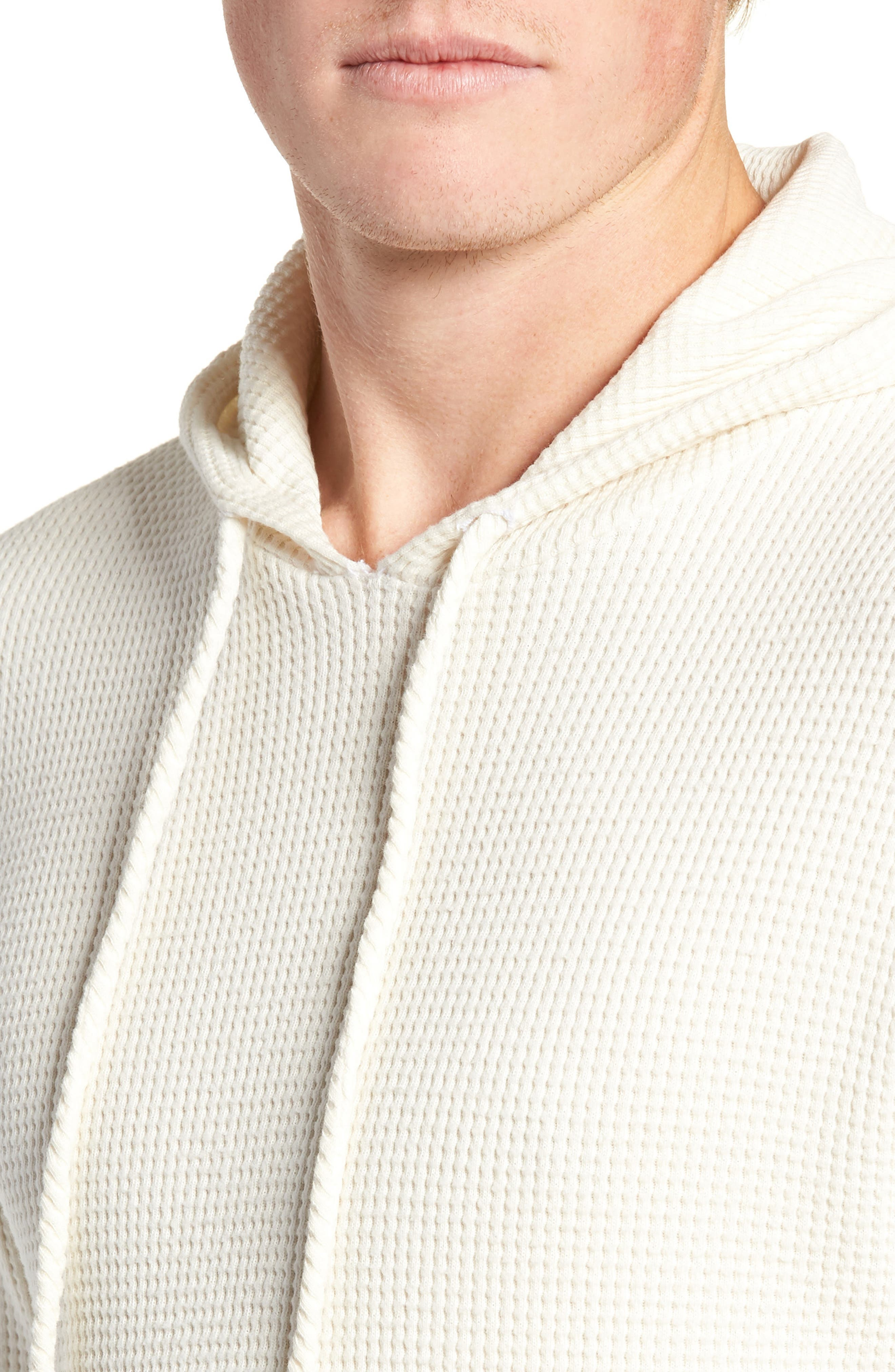 Thermal Knit Pullover Hoodie,                             Alternate thumbnail 4, color,                             WHITE