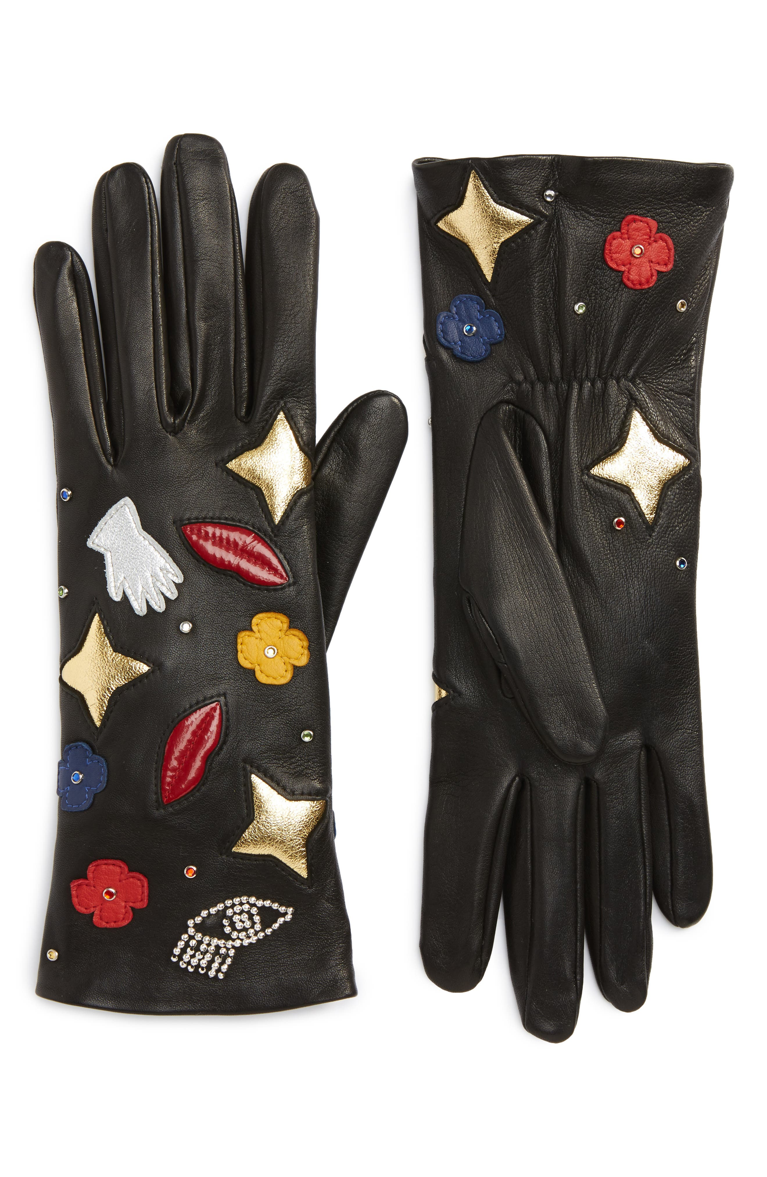 Funny Patches Lambskin Leather Gloves,                         Main,                         color, 001