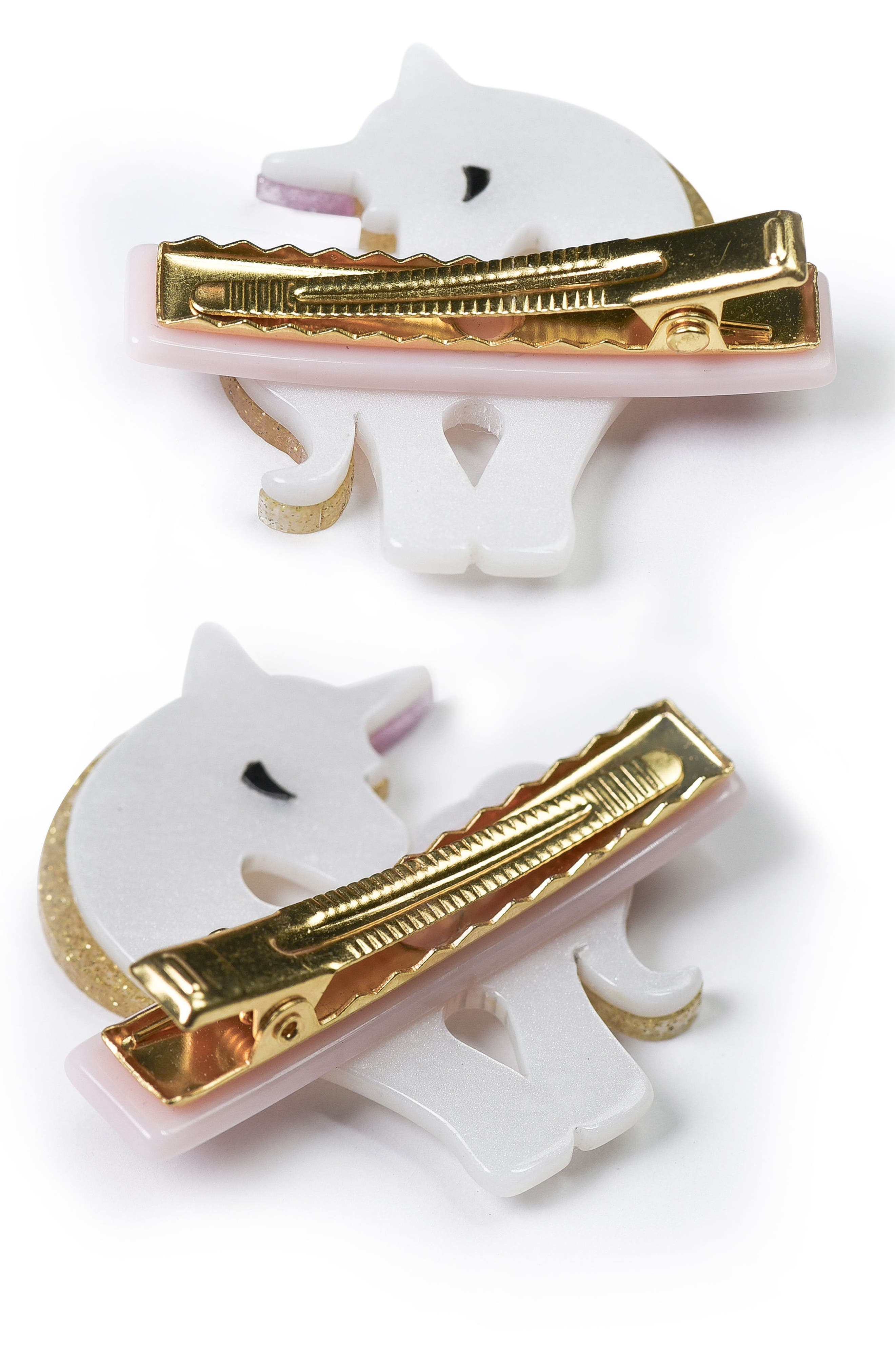 Lilies & Roses NY Set of 2 Unicorn Hair Clips,                             Alternate thumbnail 2, color,                             710