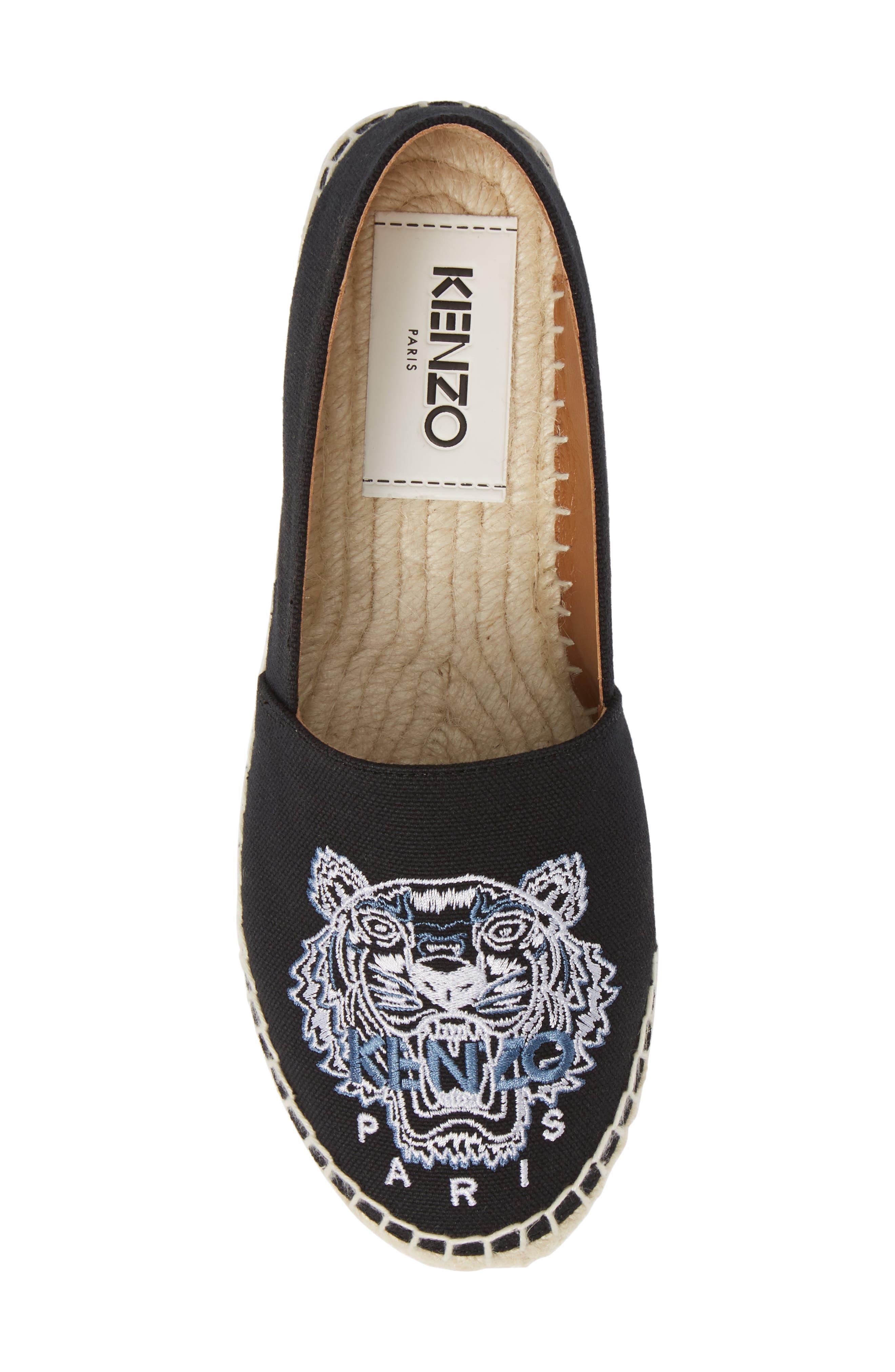 KENZO,                             White Tiger Embroidered Espadrille,                             Alternate thumbnail 5, color,                             BLACK