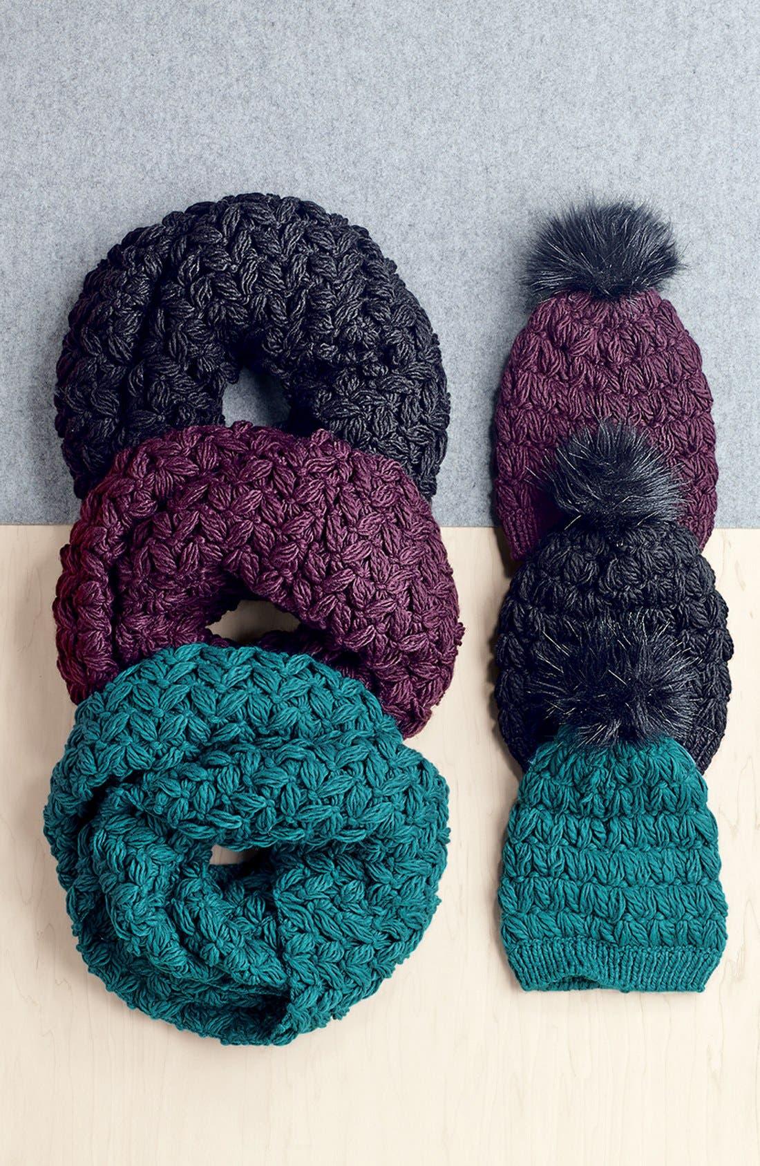 Crochet Pompom Beanie,                             Alternate thumbnail 3, color,                             001