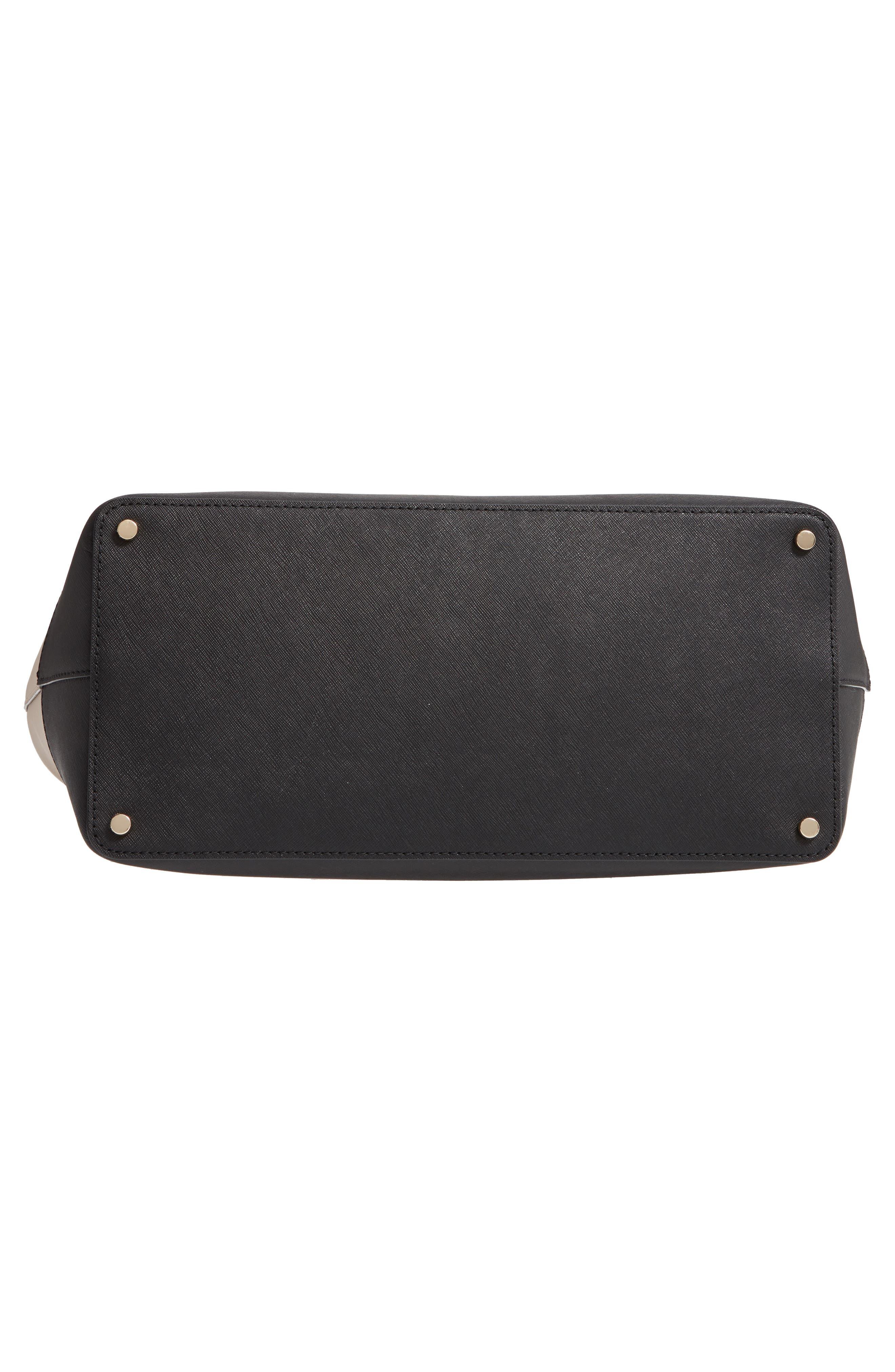 medium cameron street - harmony saffiano leather tote,                             Alternate thumbnail 6, color,                             TUSK/ BLACK