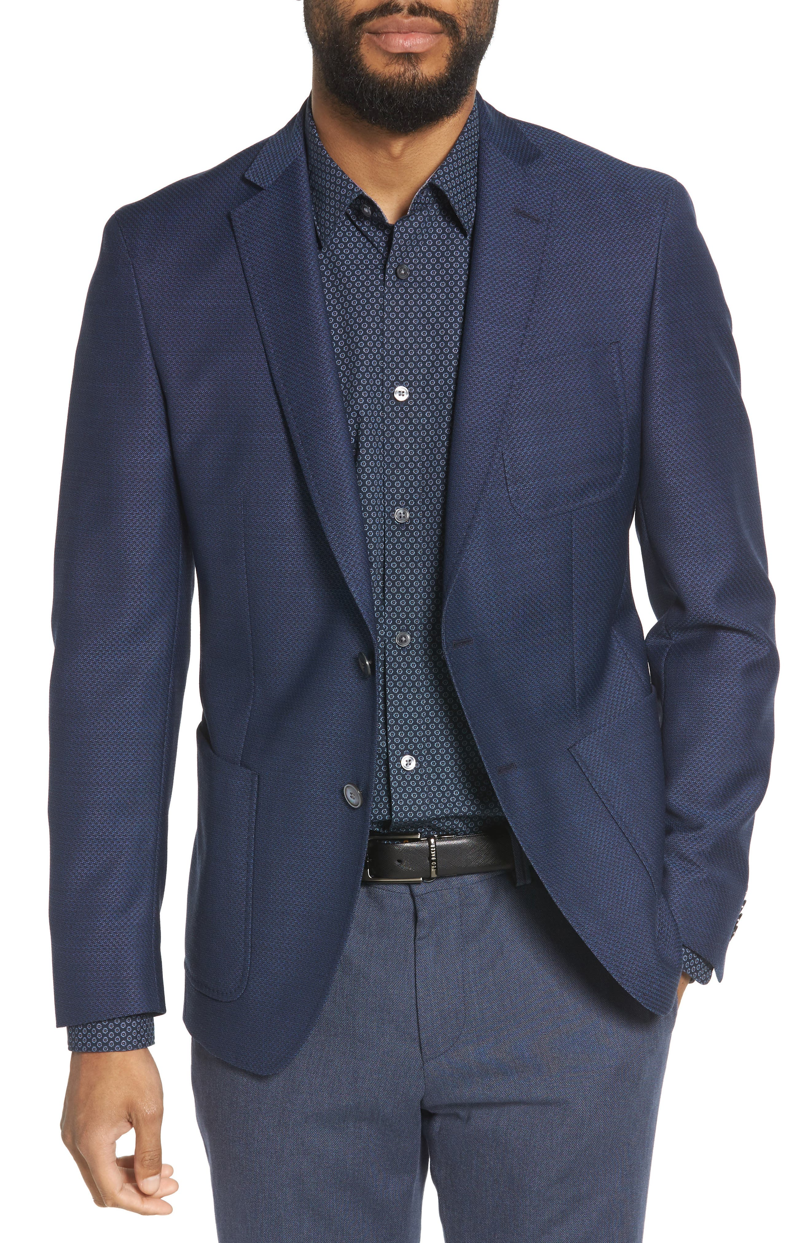 Raye Extra Trim Fit Wool Blazer,                         Main,                         color, BLUE