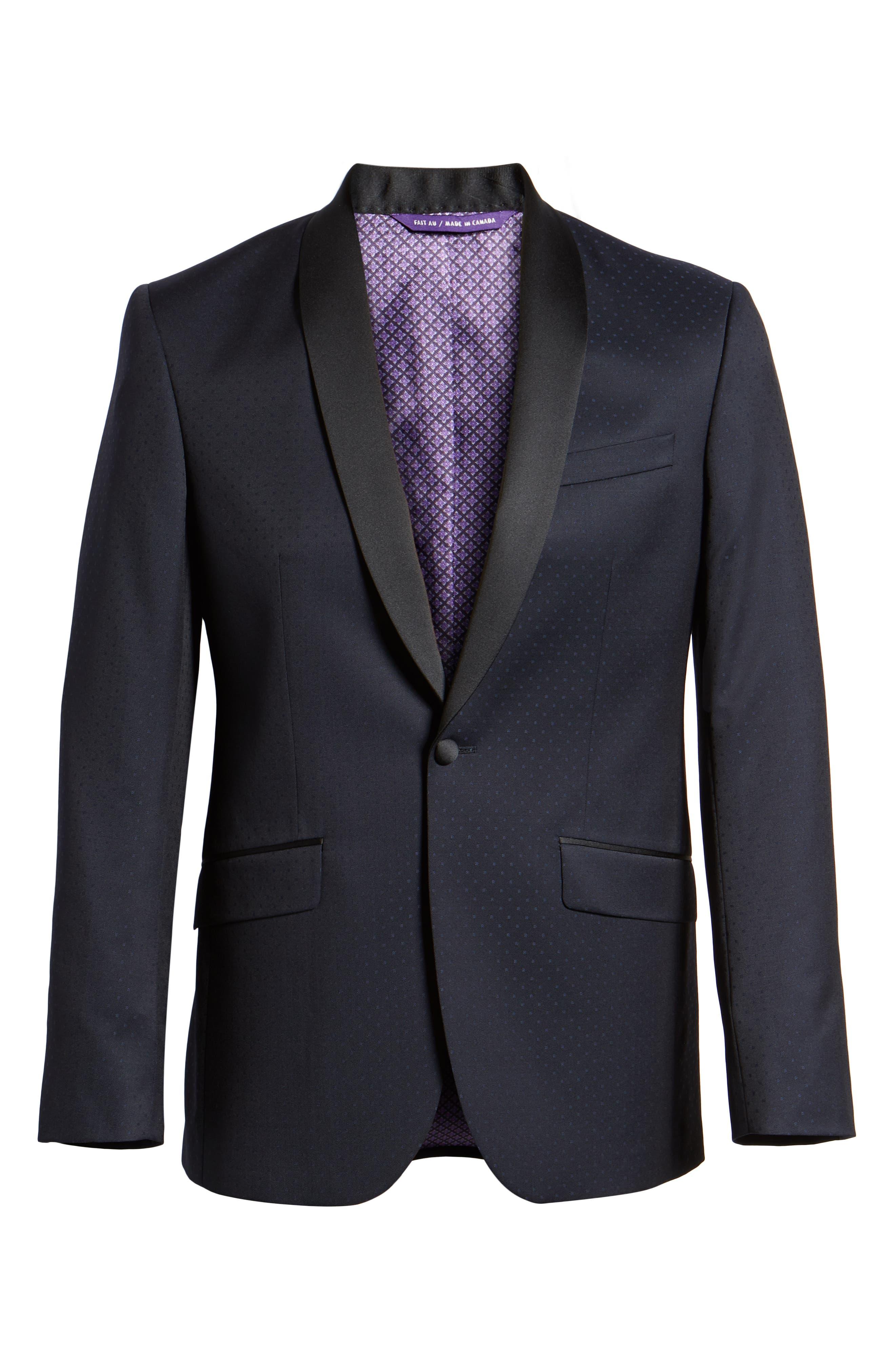 Josh Trim Fit Shawl Collar Wool Dinner Jacket,                             Alternate thumbnail 5, color,                             NAVY