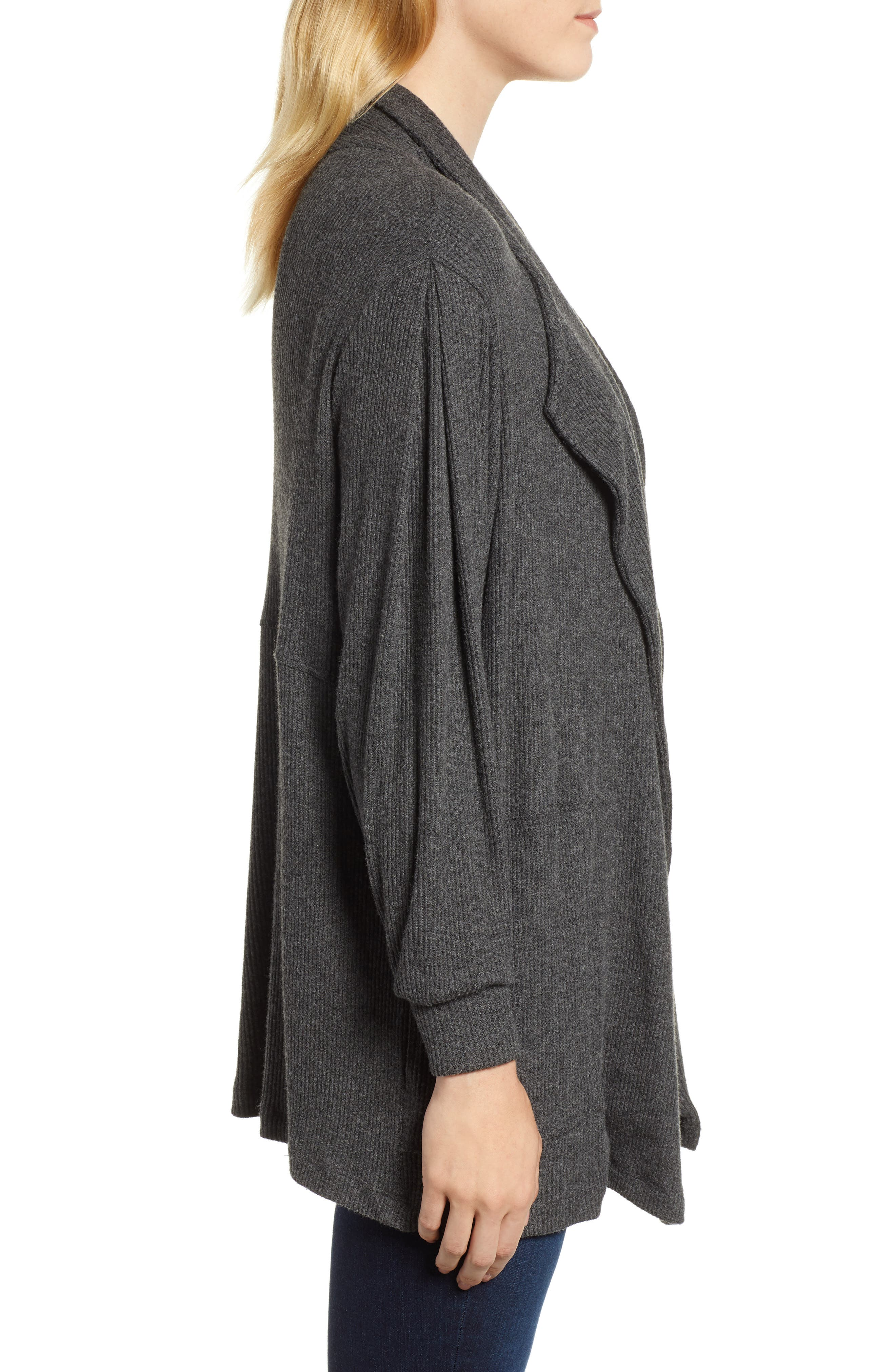 Cozy Rib Open Front Cardigan,                             Alternate thumbnail 3, color,                             ANTHRACITE