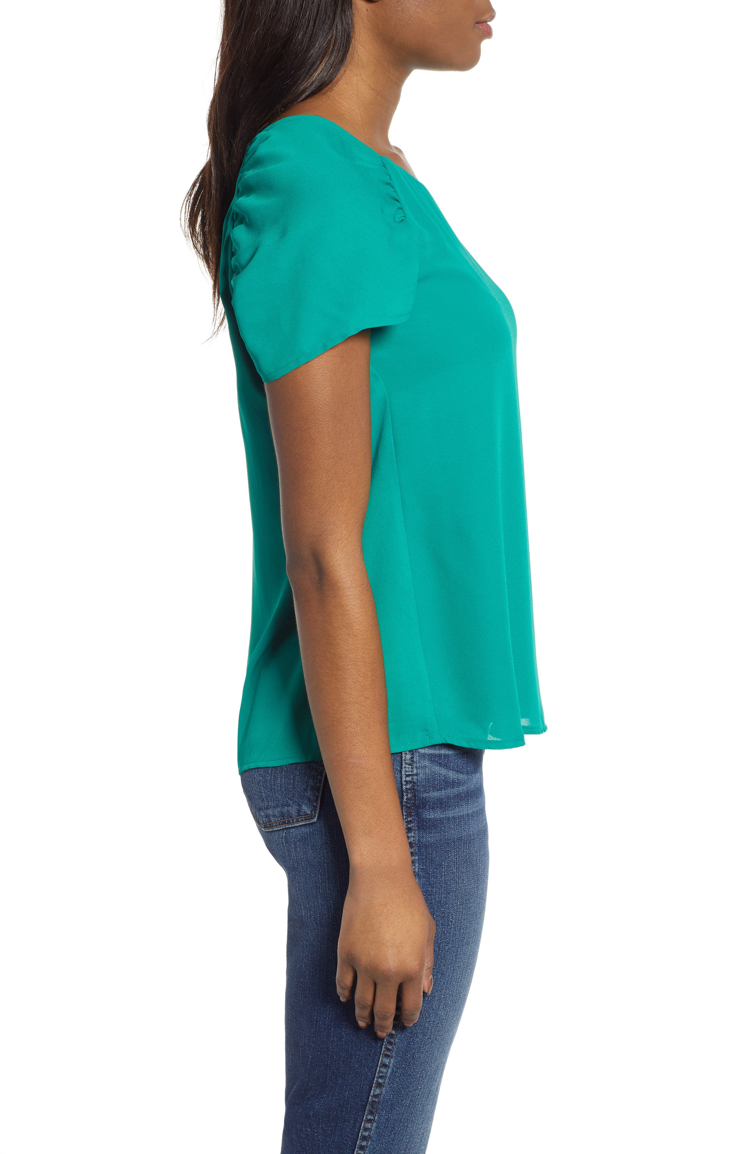 GIBSON,                             x International Women's Day Erin Ruched Sleeve Blouse,                             Alternate thumbnail 3, color,                             GREEN