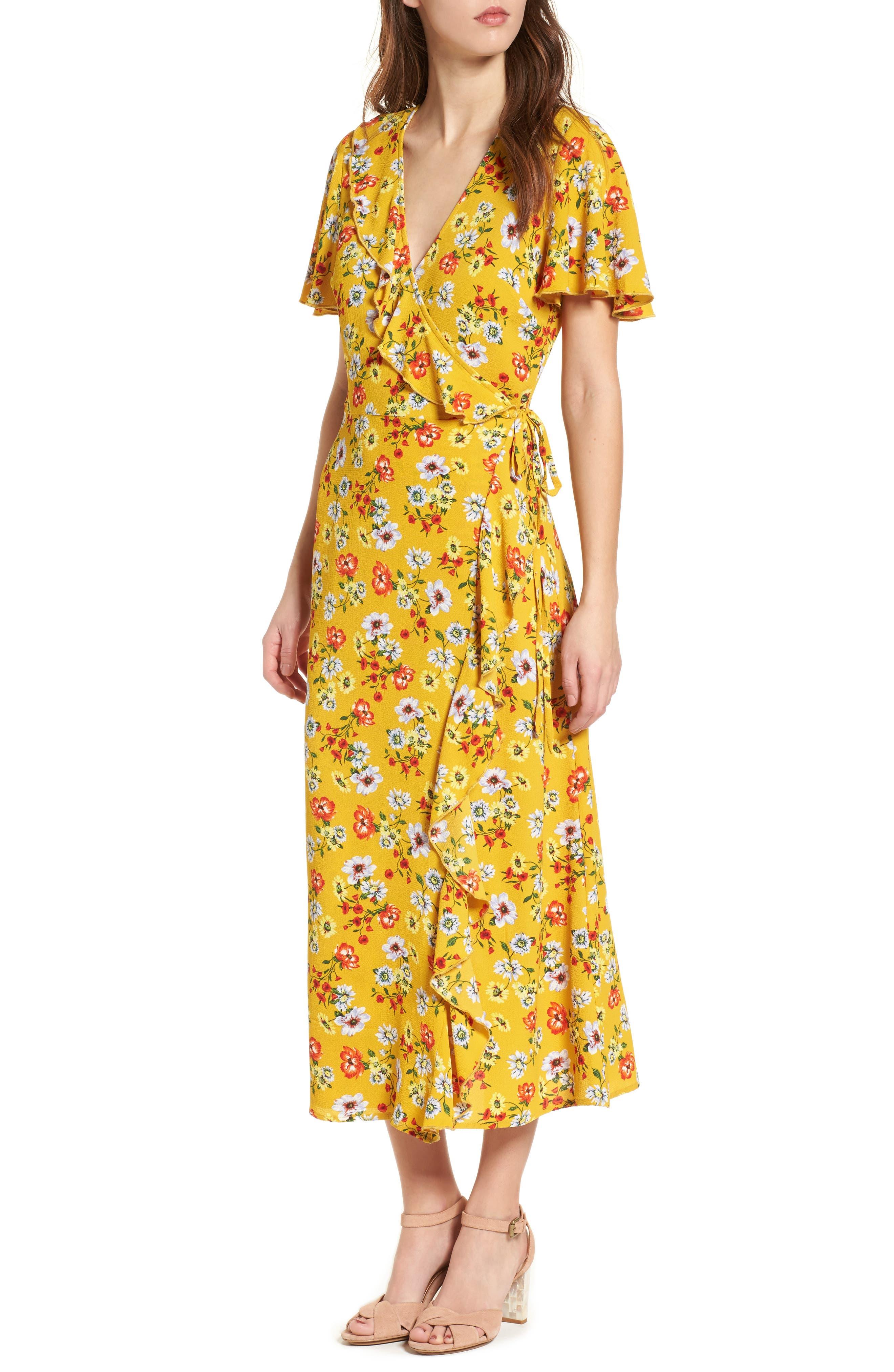Ruffle Wrap Midi Dress,                             Main thumbnail 1, color,                             700