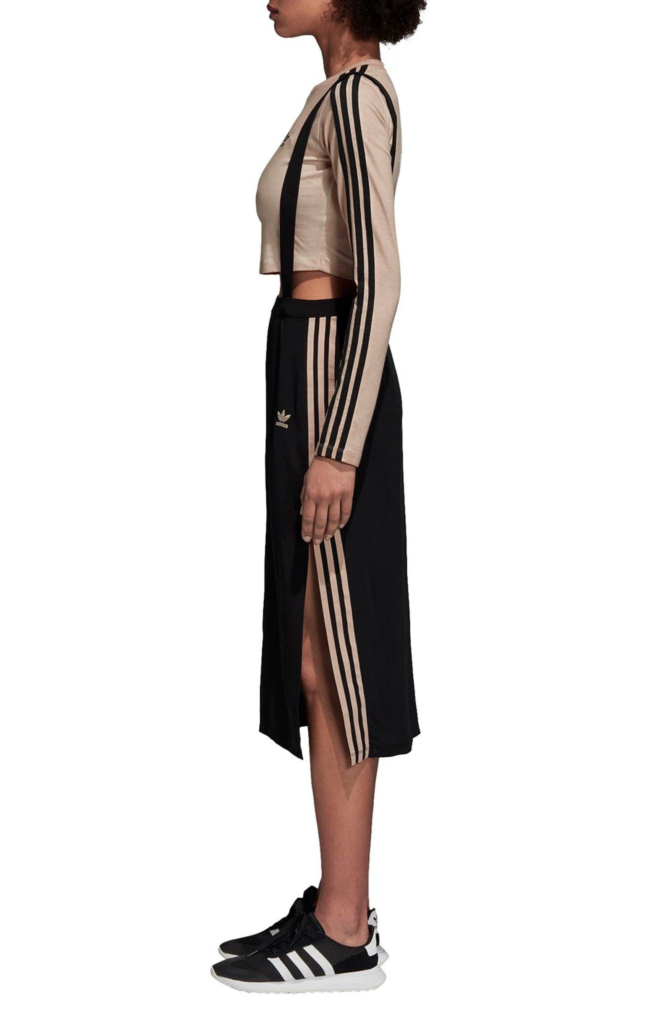 ADIDAS ORIGINALS,                             Midi Skirt with Shoulder Straps,                             Alternate thumbnail 3, color,                             001
