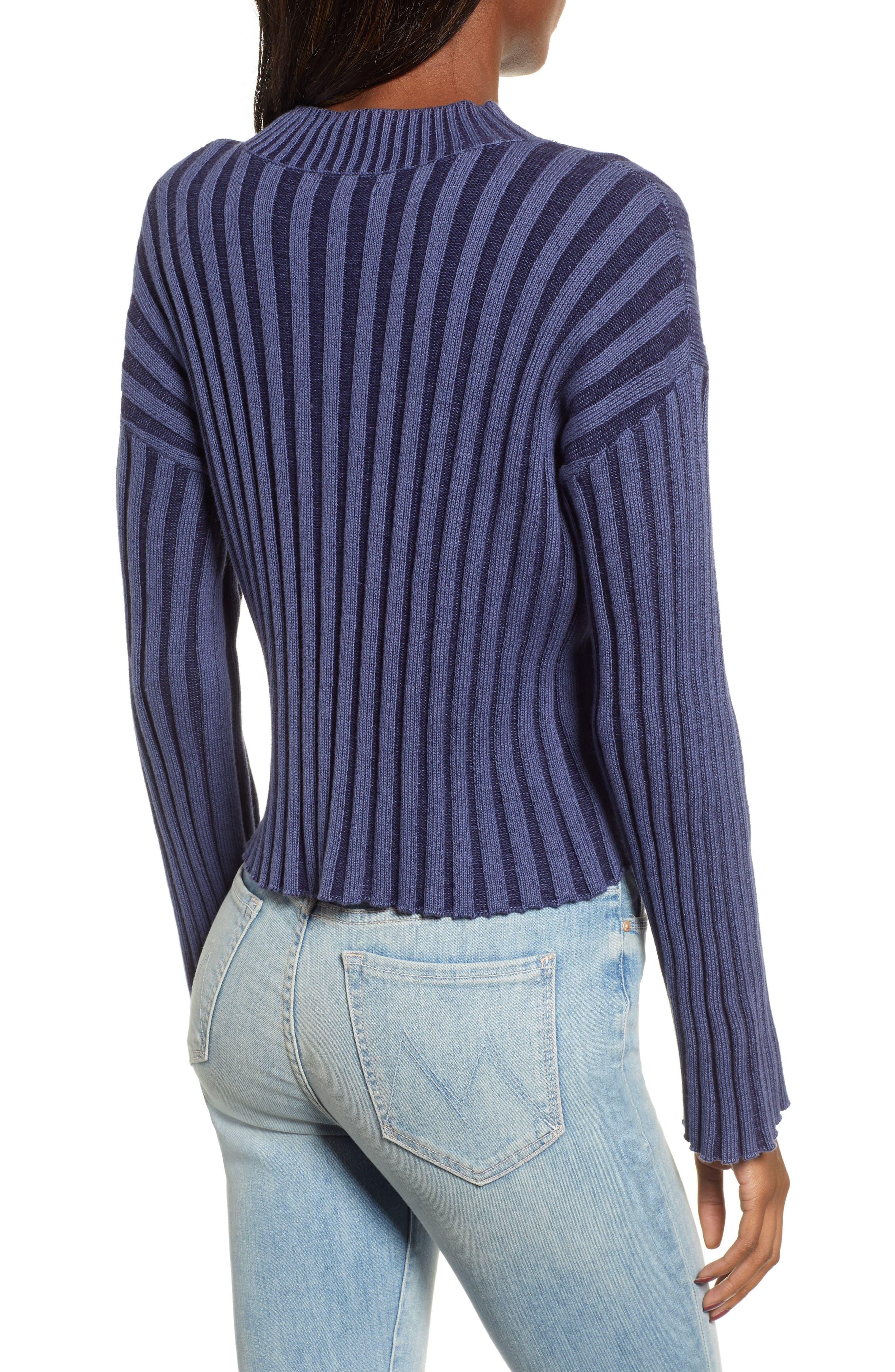 Shadow Rib Crop Sweater,                             Alternate thumbnail 3, color,                             NAVY EVENING