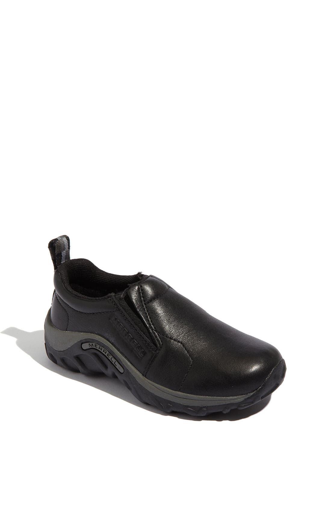 'Jungle Moc' Leather Slip-On,                         Main,                         color, BLACK