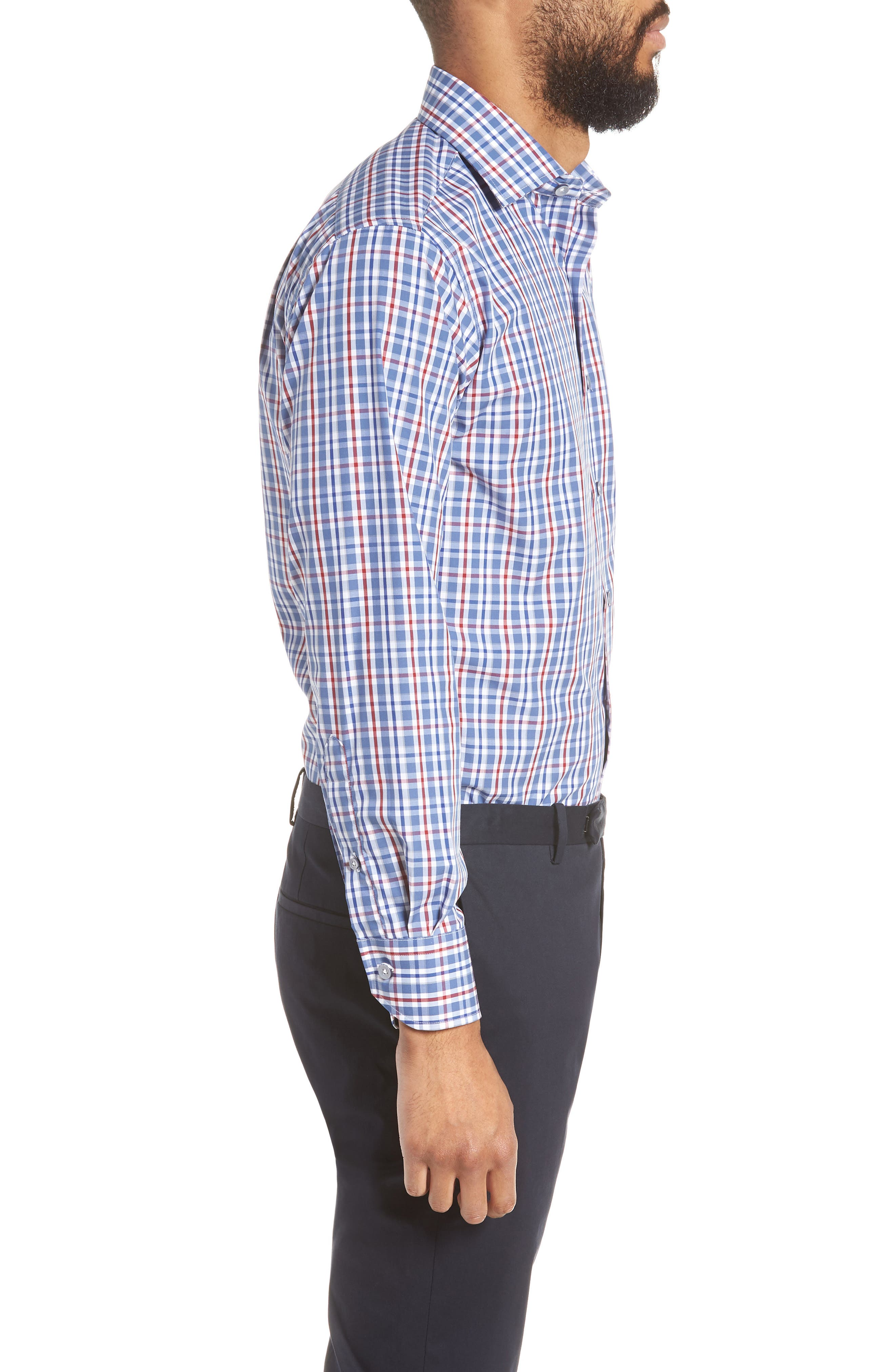 Trim Fit Plaid Dress Shirt,                             Alternate thumbnail 4, color,                             410