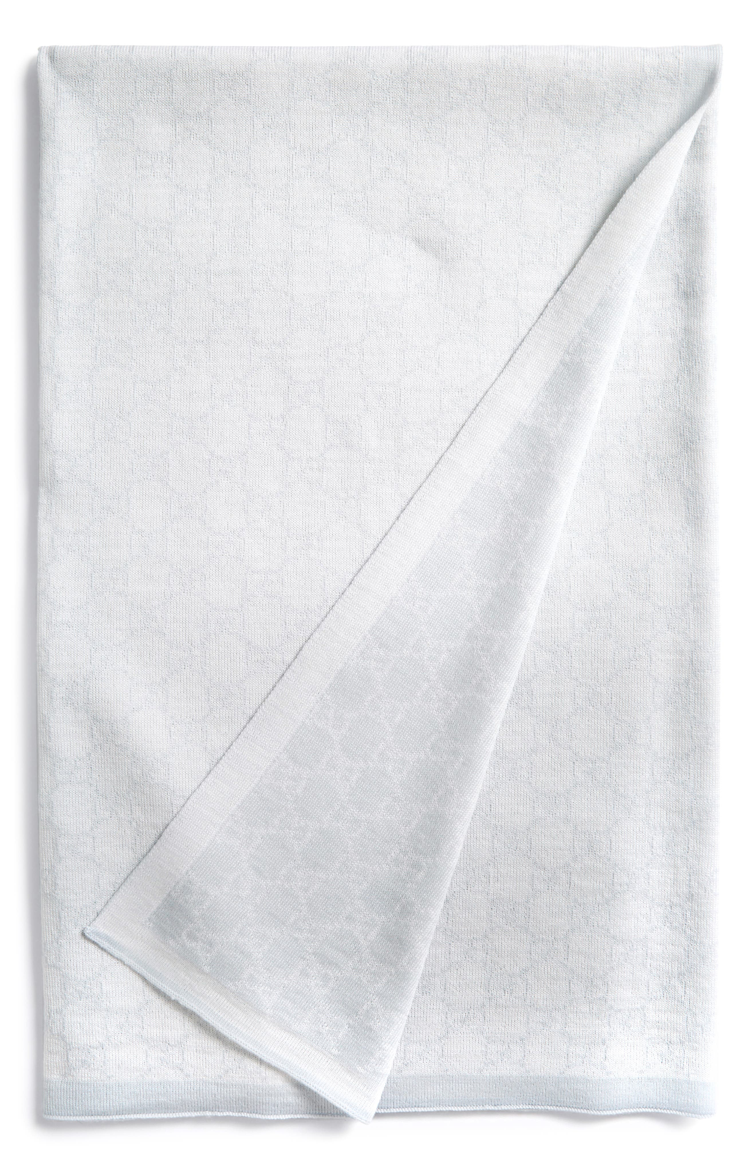 Wool Baby Blanket,                         Main,                         color, IVORY/ SKY BLUE