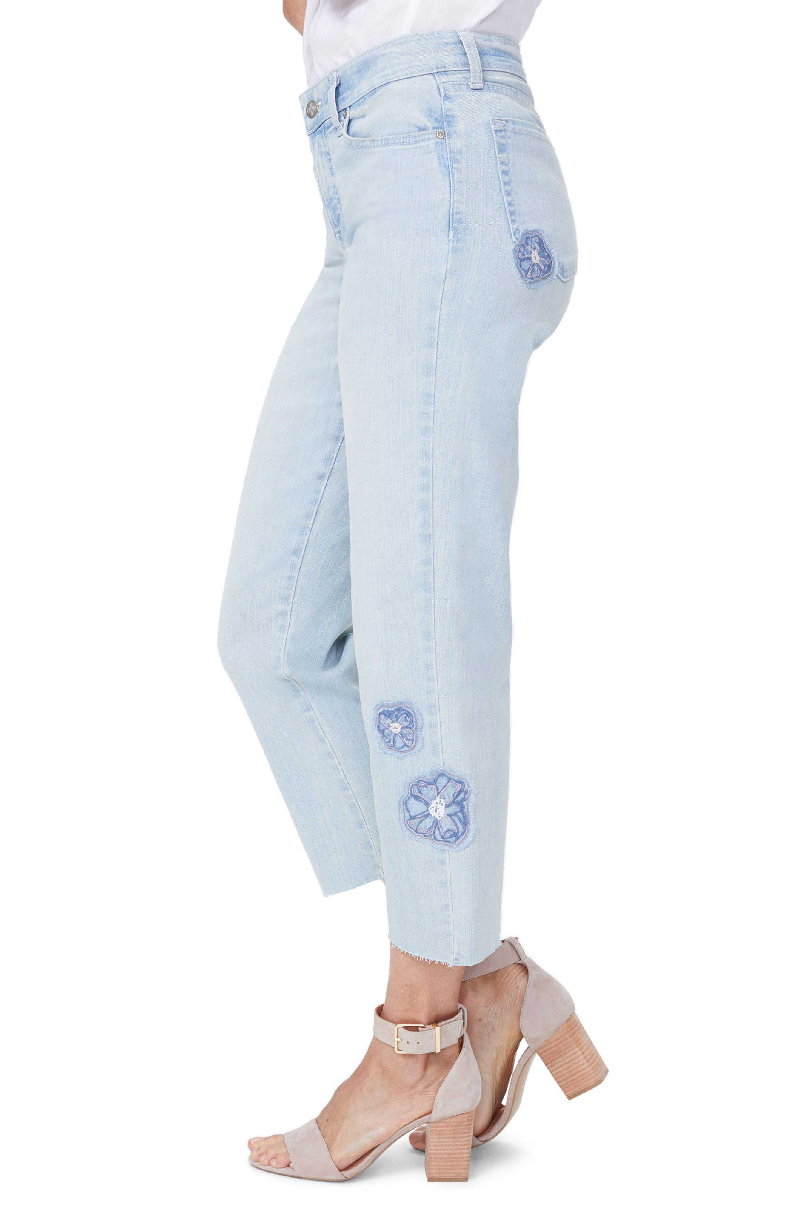 Jenna Floral Appliqué Raw Edge Crop Jeans,                             Alternate thumbnail 3, color,