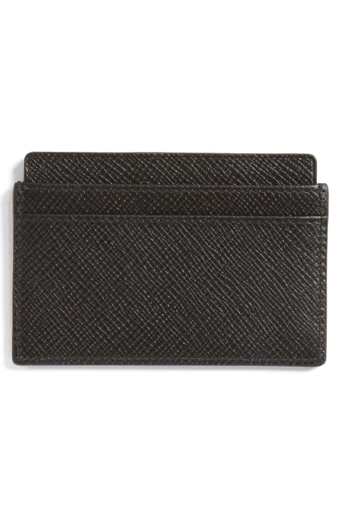 'Panama' Leather Card Case,                             Alternate thumbnail 2, color,                             001