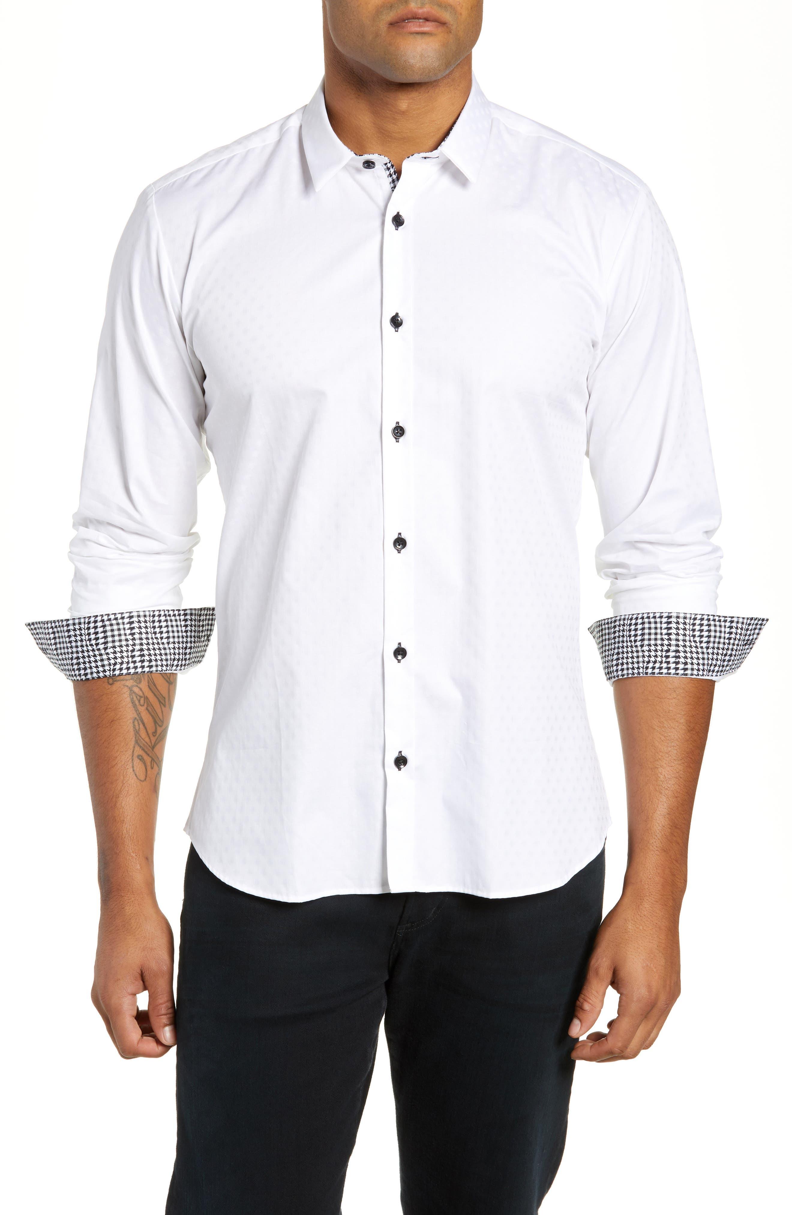 Trim Fit Sport Shirt,                             Main thumbnail 1, color,                             WHITE