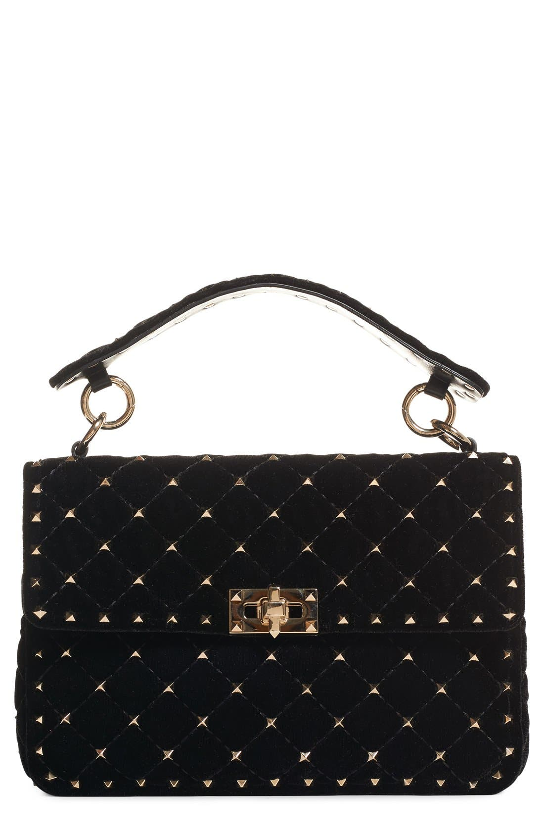Rockstud Quilted Leather Shoulder Bag,                             Main thumbnail 1, color,                             NERO