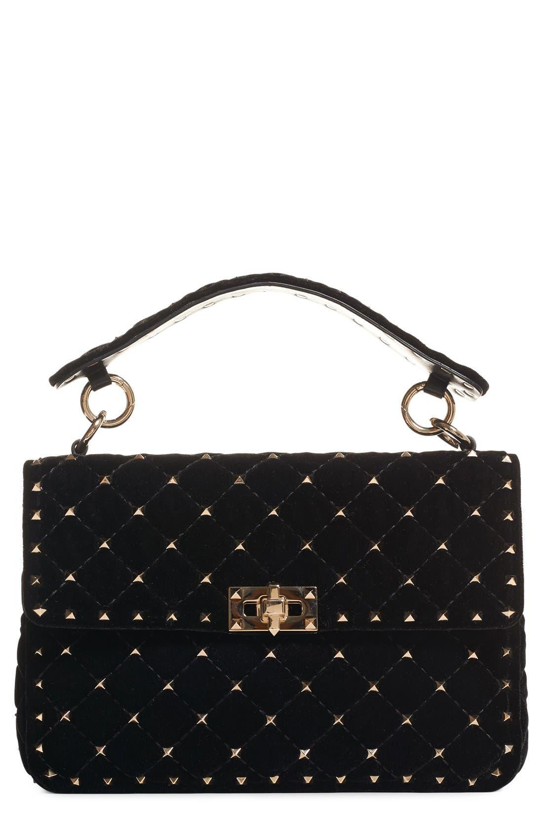 Rockstud Quilted Leather Shoulder Bag,                         Main,                         color, NERO