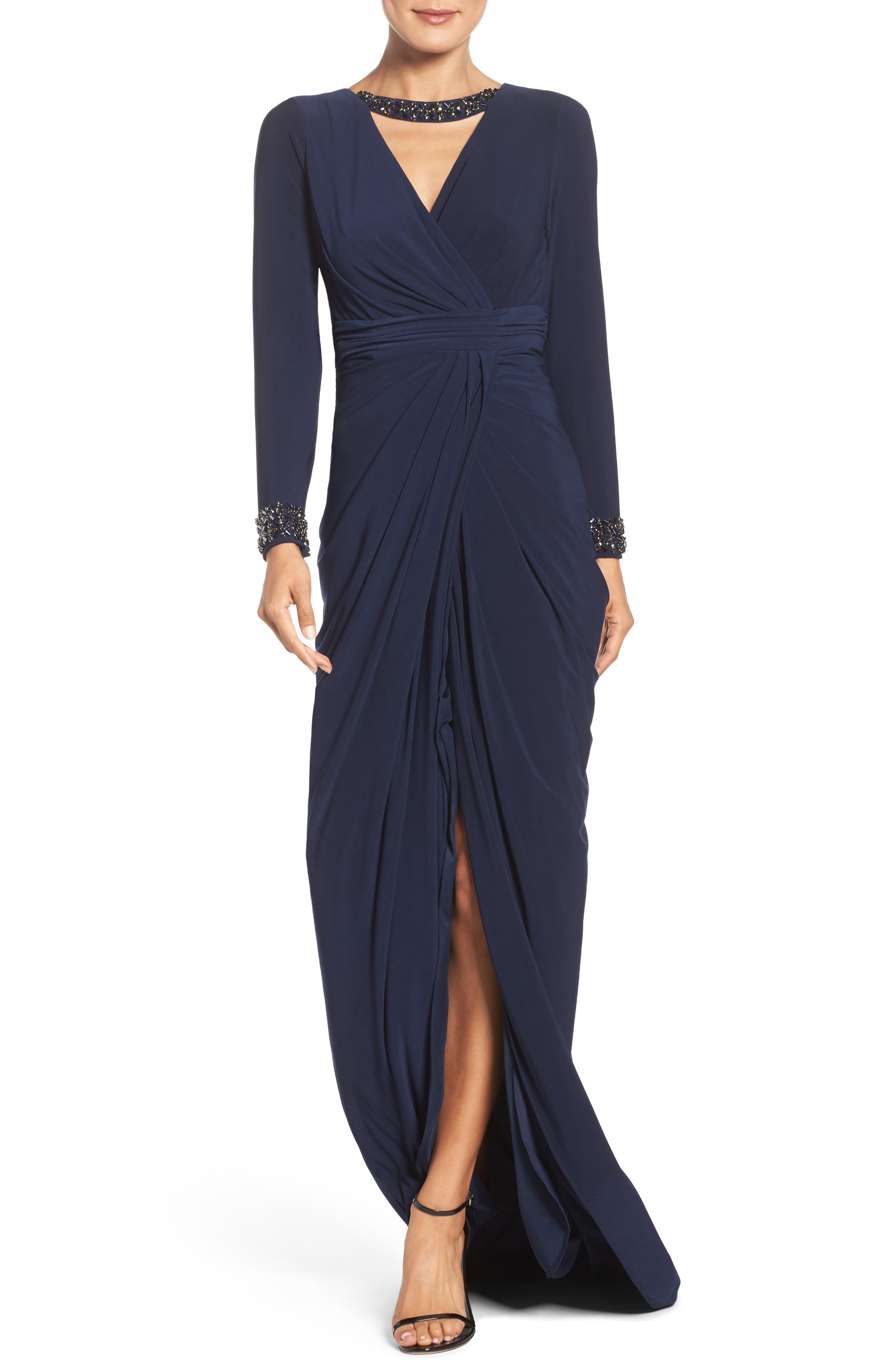 Beaded Jersey Gown,                         Main,                         color, 012
