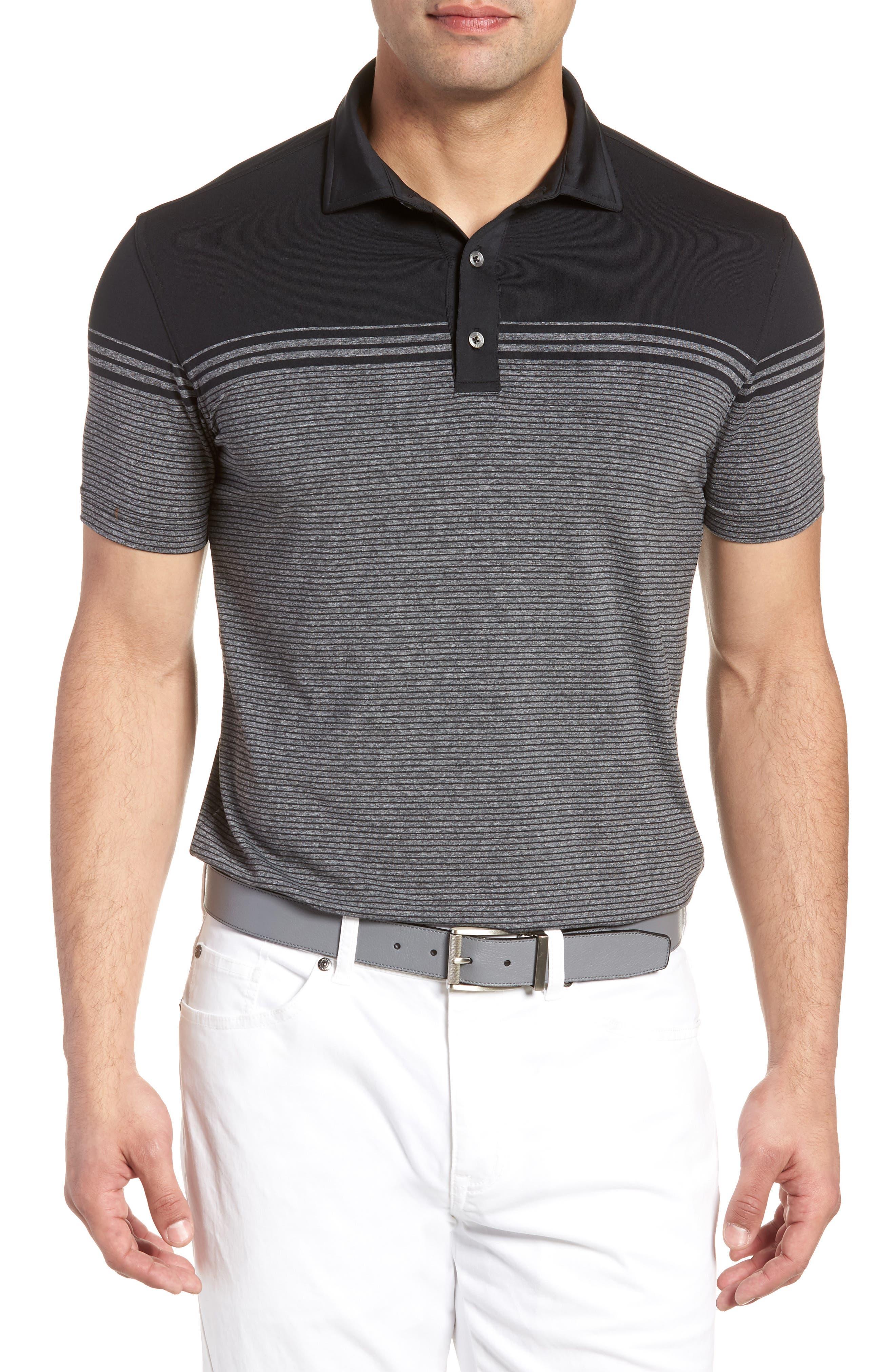 BOBBY JONES R18 Tech Torque Stripe Golf Polo in Black